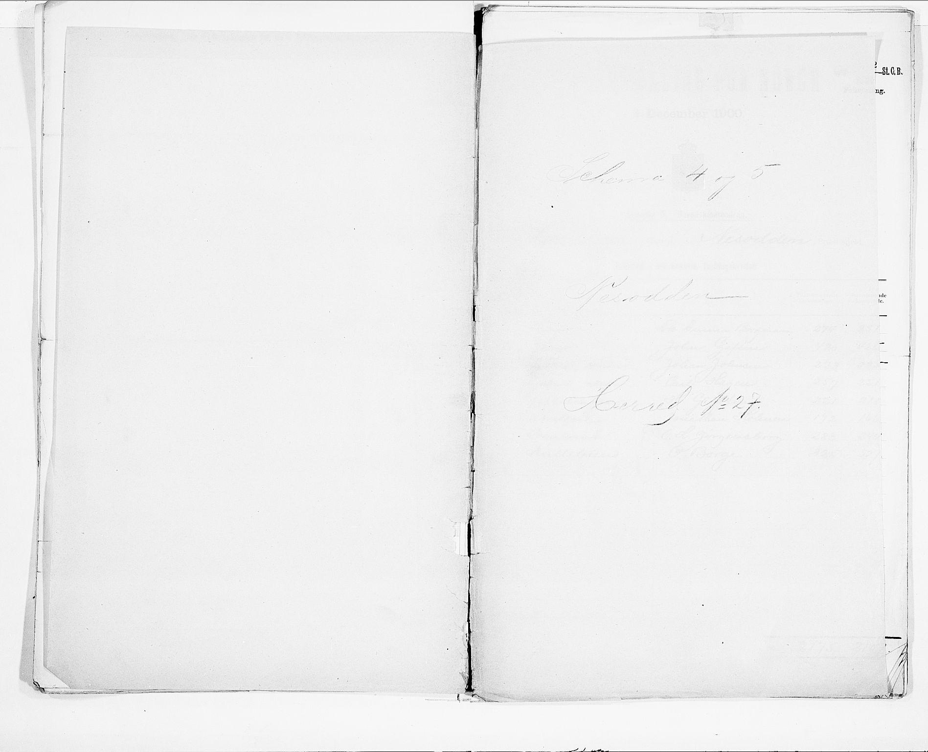 SAO, 1900 census for Nesodden, 1900, p. 1