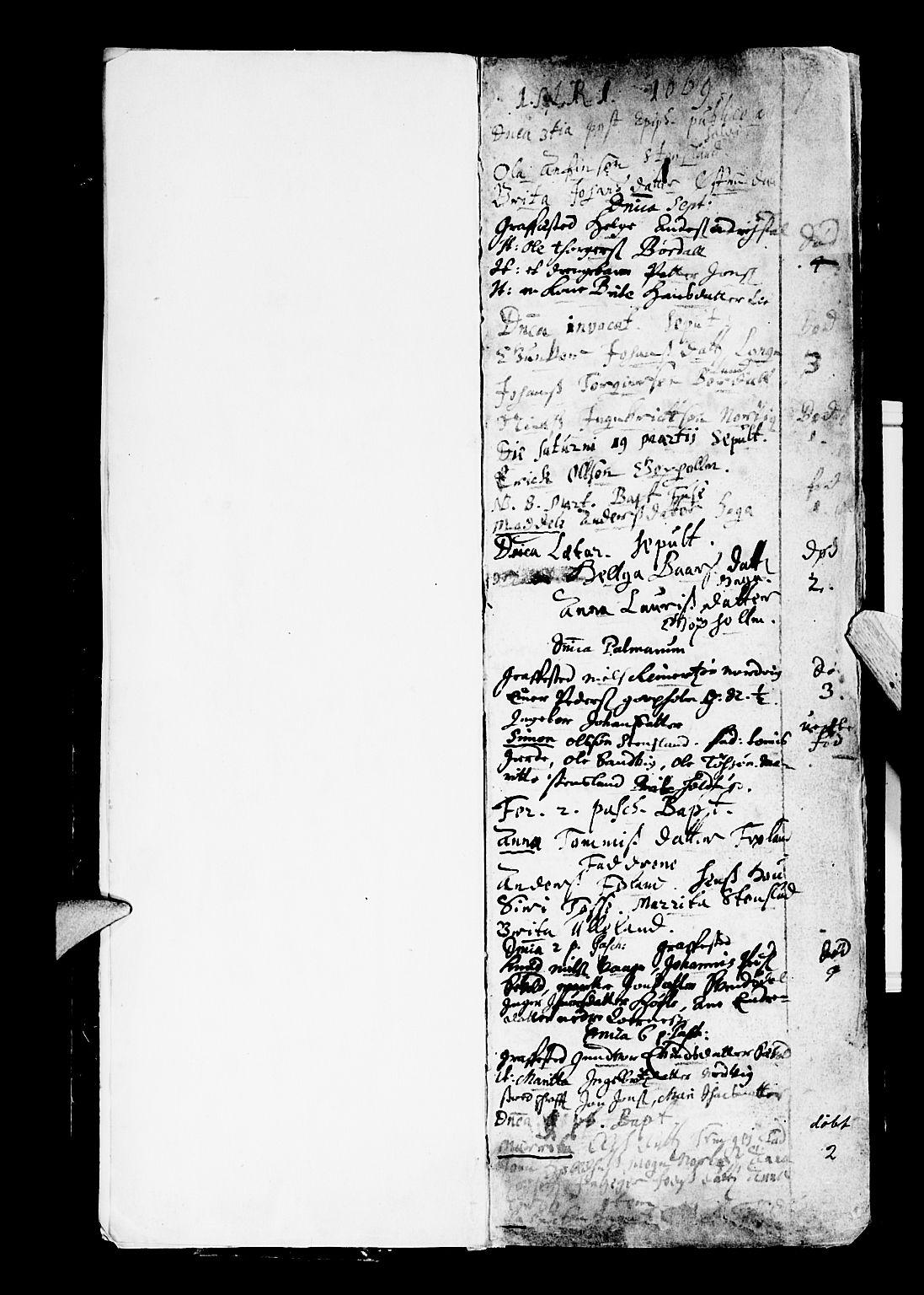 SAB, Os sokneprestembete*, Parish register (official) no. A 4, 1669-1760, p. 1