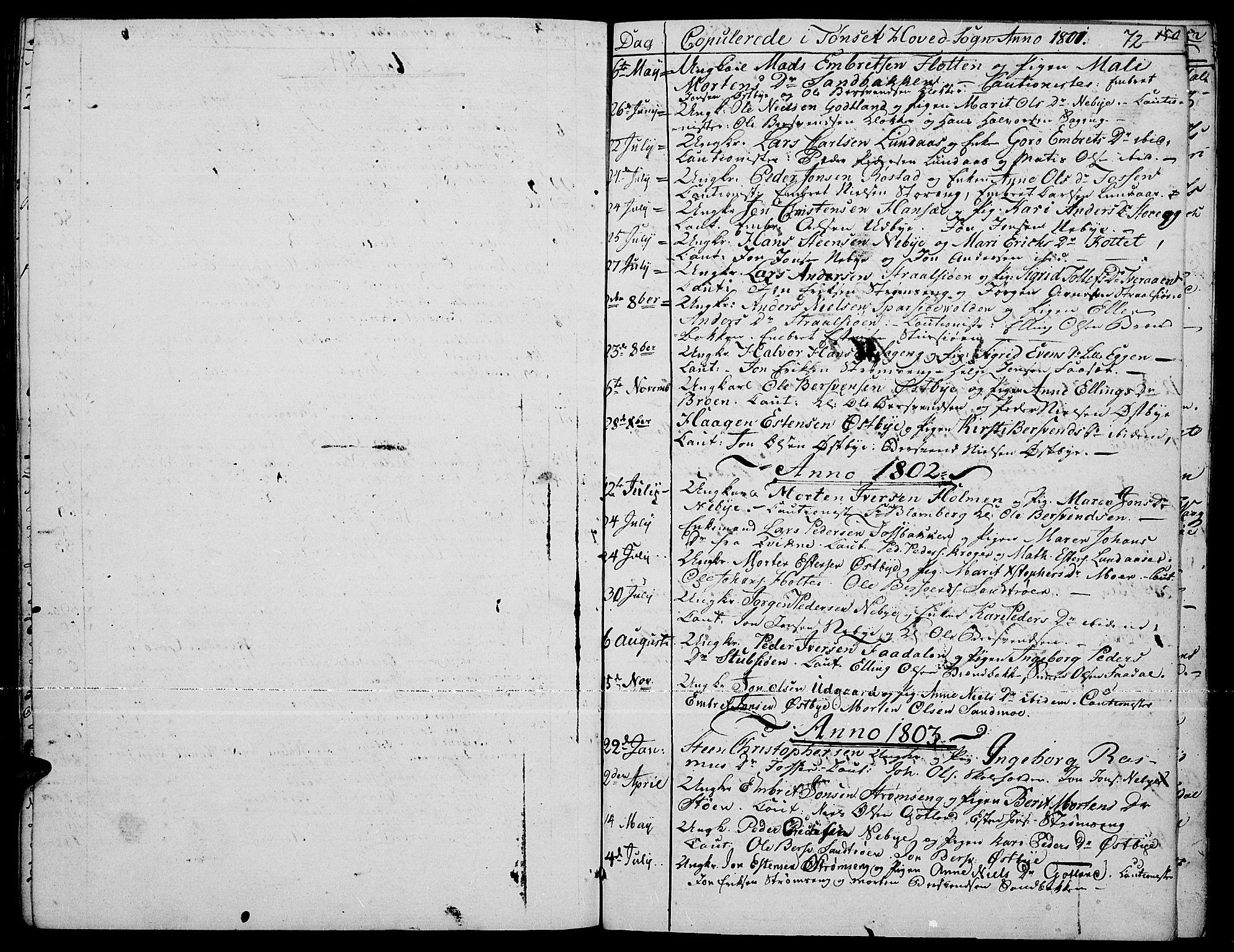 SAH, Tynset prestekontor, Parish register (official) no. 15, 1801-1814, p. 72