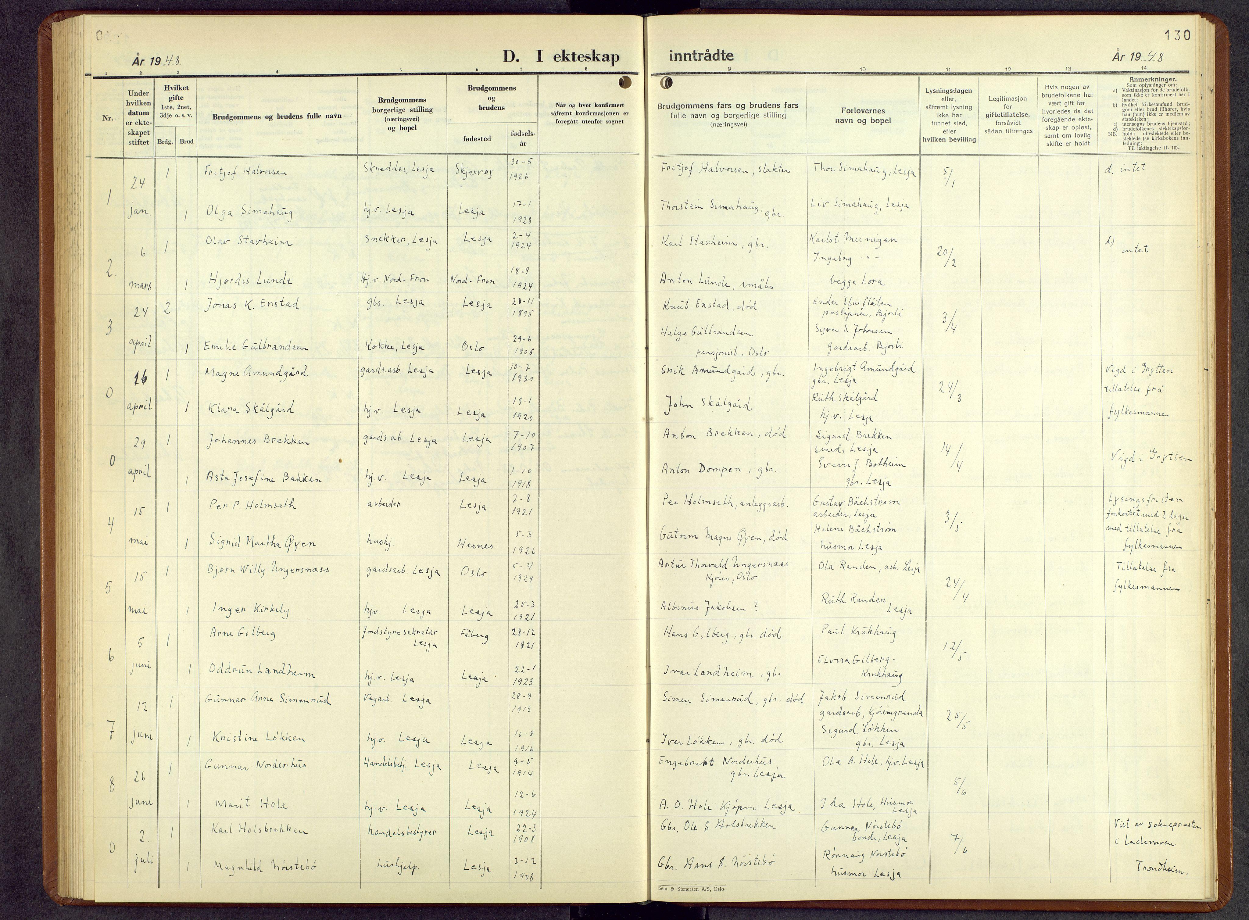 SAH, Lesja prestekontor, Parish register (copy) no. 10, 1925-1960, p. 130