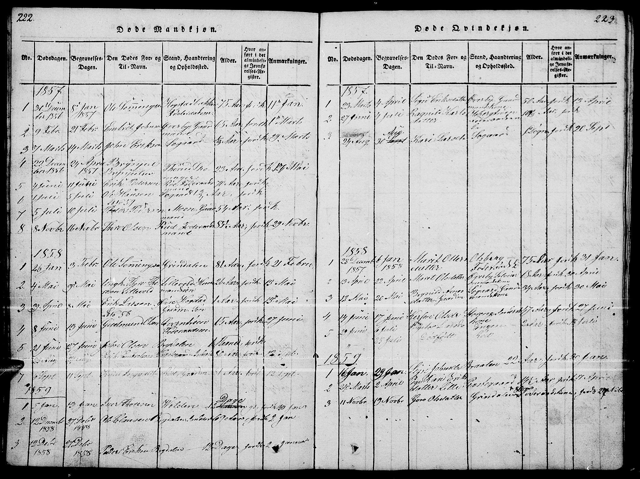 SAH, Tynset prestekontor, Parish register (copy) no. 4, 1814-1879, p. 222-223