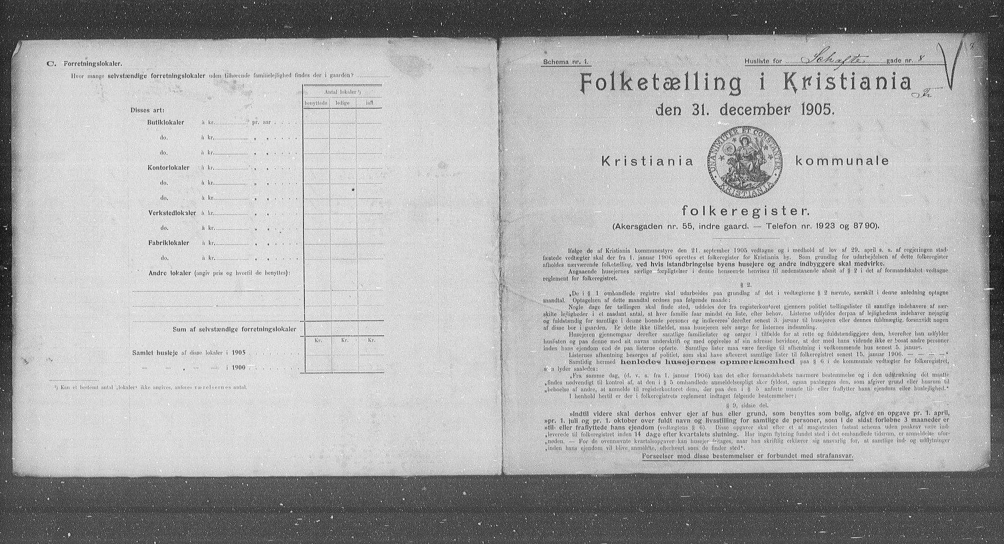 OBA, Municipal Census 1905 for Kristiania, 1905, p. 46485