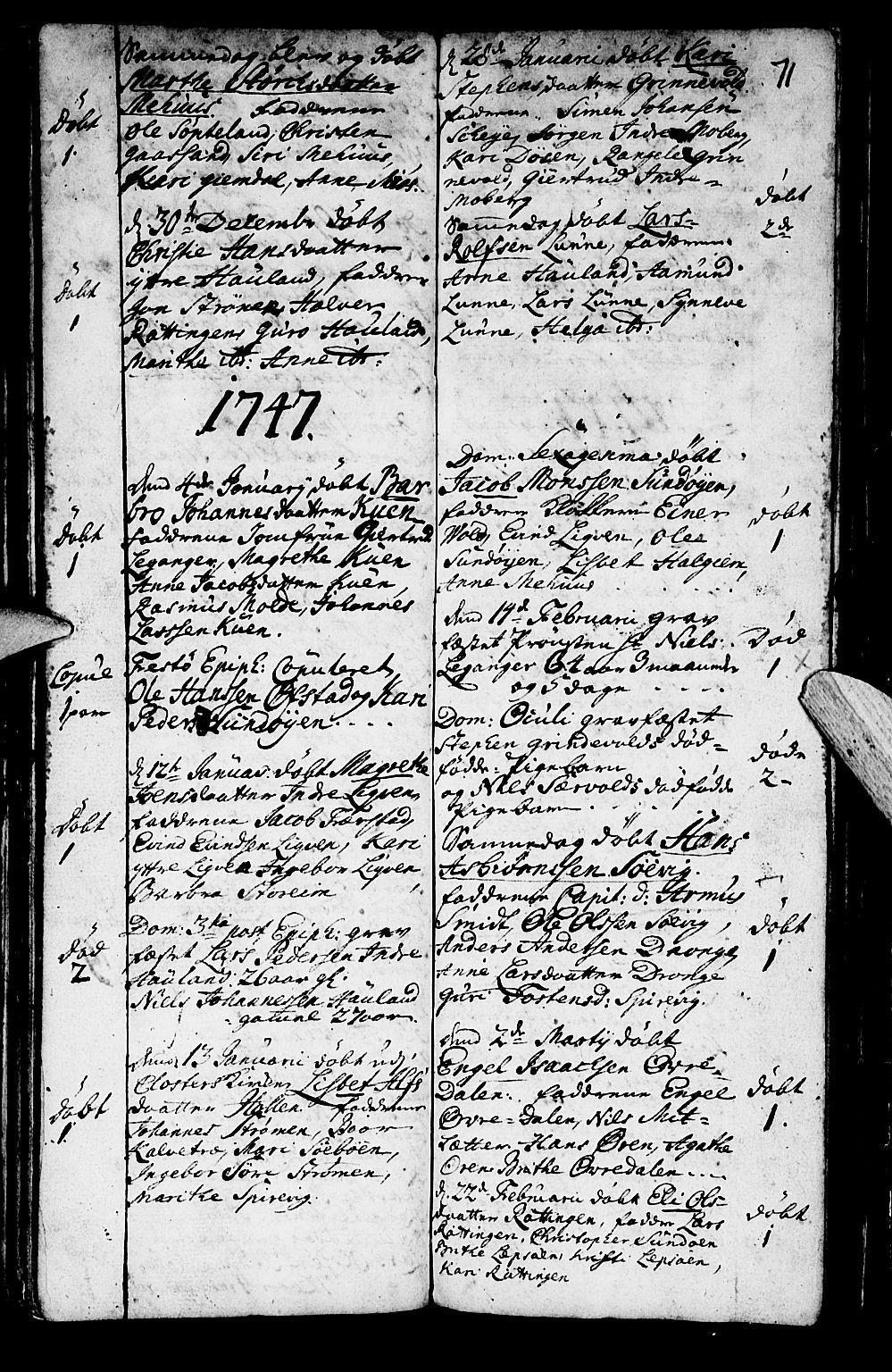 SAB, Os sokneprestembete*, Parish register (official) no. A 2, 1723-1758, p. 71
