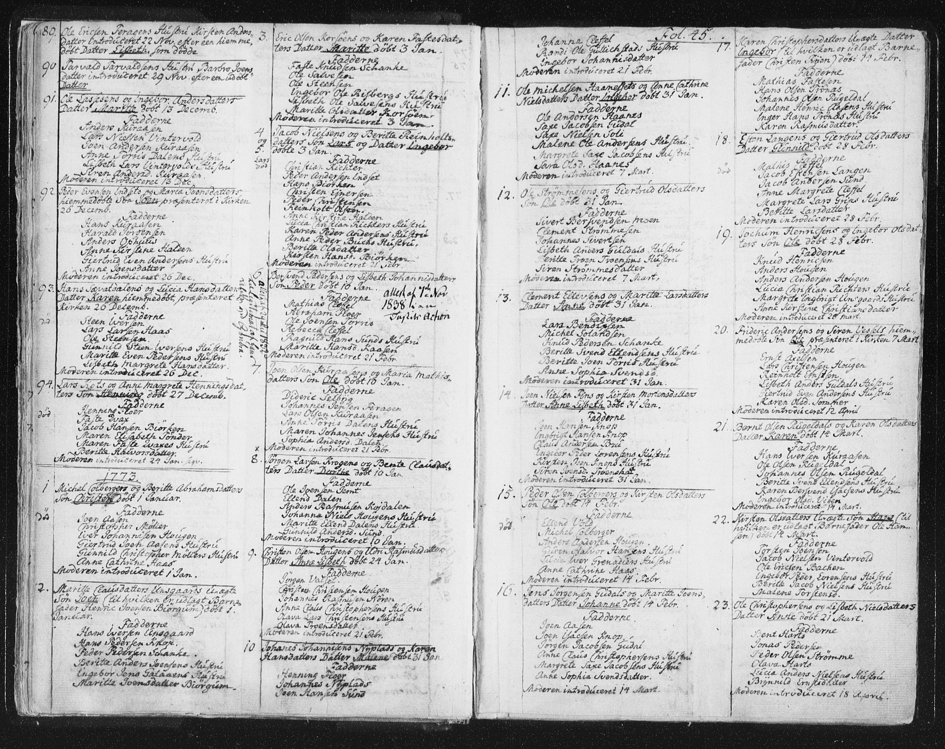 SAT, Ministerialprotokoller, klokkerbøker og fødselsregistre - Sør-Trøndelag, 681/L0926: Parish register (official) no. 681A04, 1767-1797, p. 45