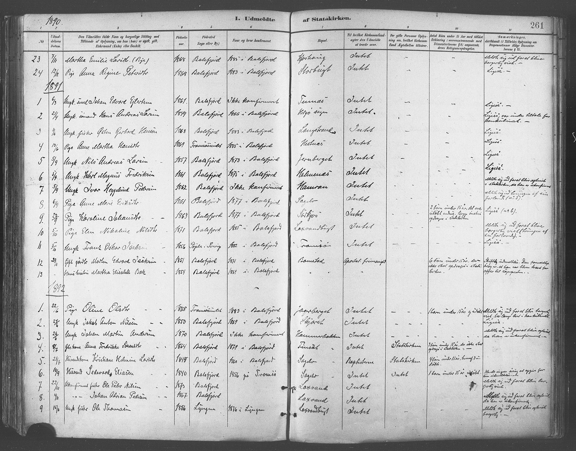SATØ, Balsfjord sokneprestembete, Parish register (official) no. 5, 1884-1897, p. 261