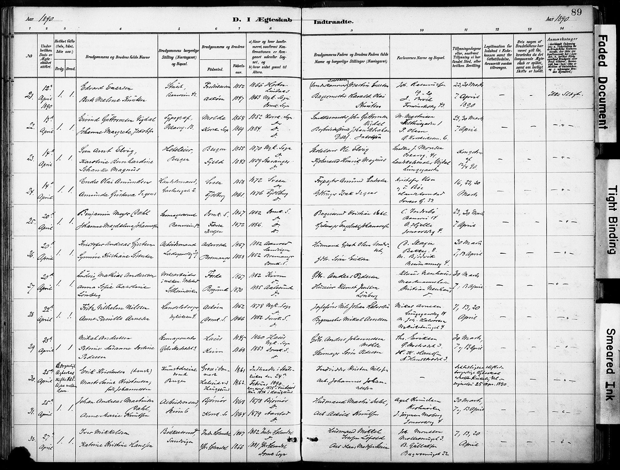 SAB, Domkirken sokneprestembete, H/Haa/L0037: Parish register (official) no. D 4, 1880-1907, p. 89