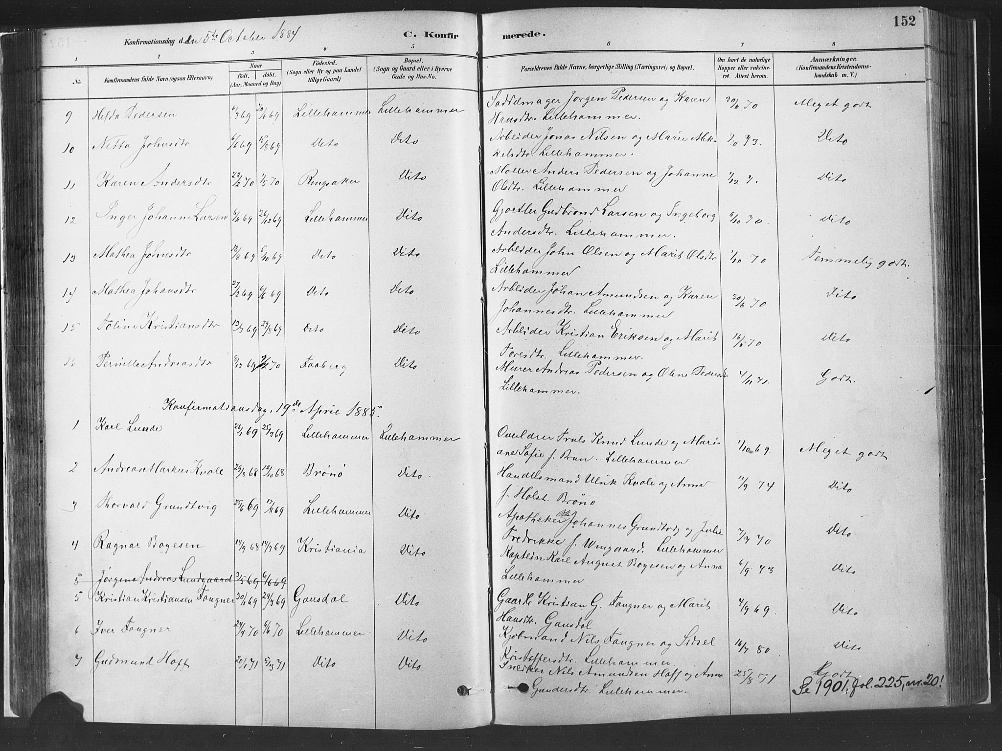 SAH, Fåberg prestekontor, H/Ha/Haa/L0010: Parish register (official) no. 10, 1879-1900, p. 152