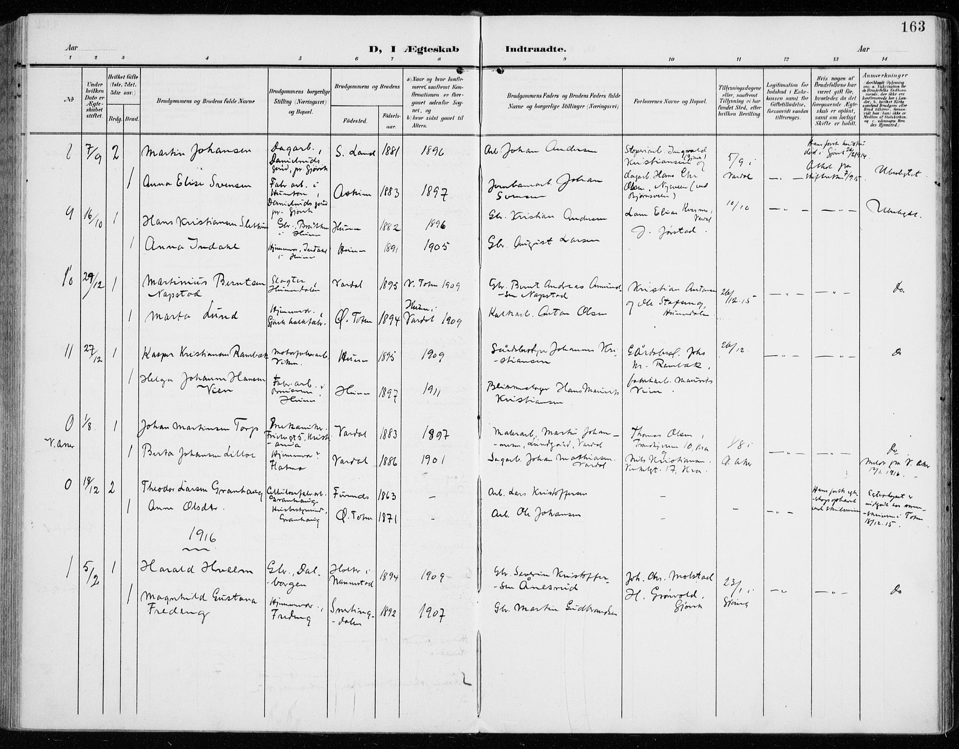 SAH, Vardal prestekontor, H/Ha/Haa/L0016: Parish register (official) no. 16, 1904-1916, p. 163