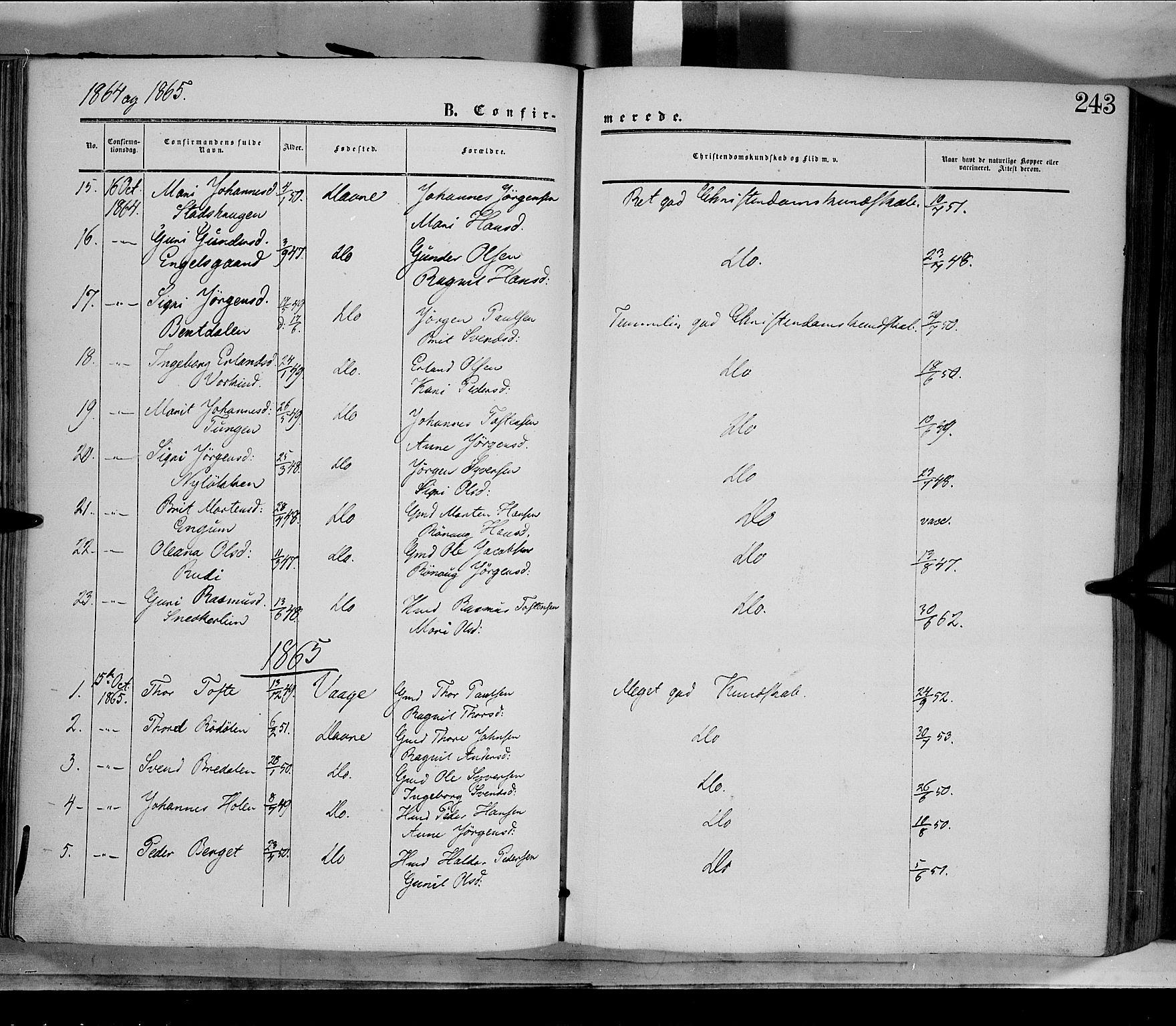 SAH, Dovre prestekontor, Parish register (official) no. 1, 1854-1878, p. 243