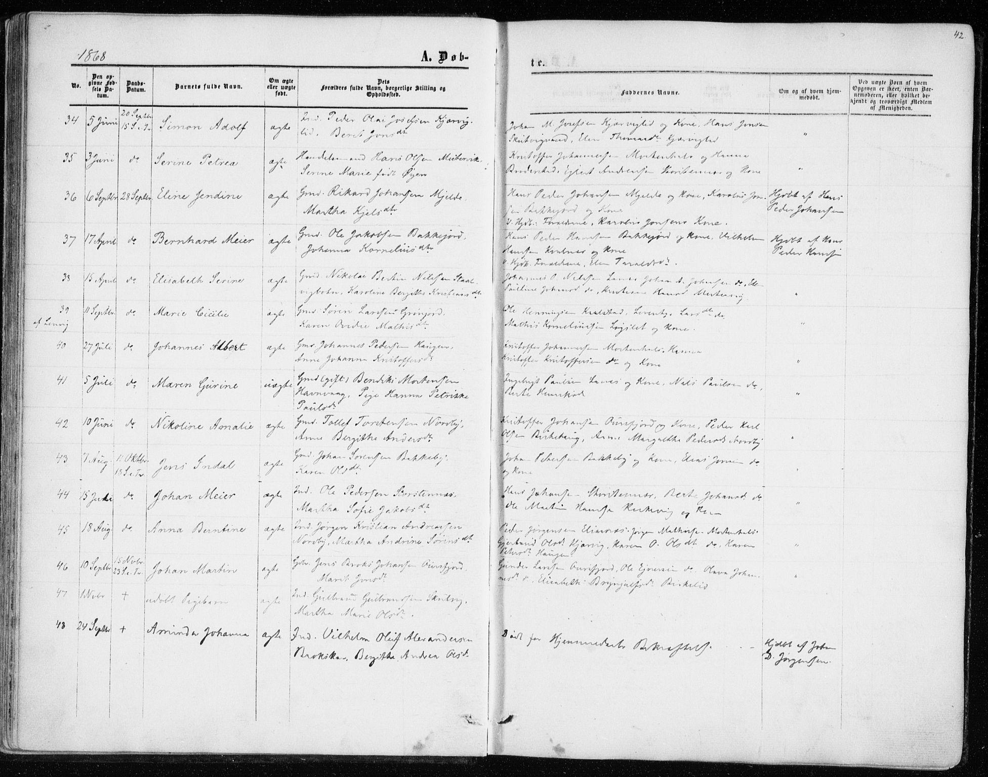 SATØ, Balsfjord sokneprestembete, Parish register (official) no. 1, 1858-1870, p. 42