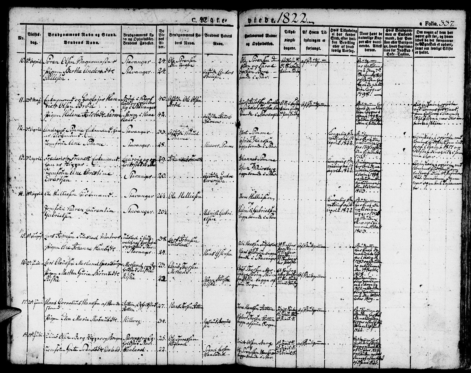 SAST, Domkirken sokneprestkontor, 30/30BA/L0009: Parish register (official) no. A 9, 1821-1832, p. 337