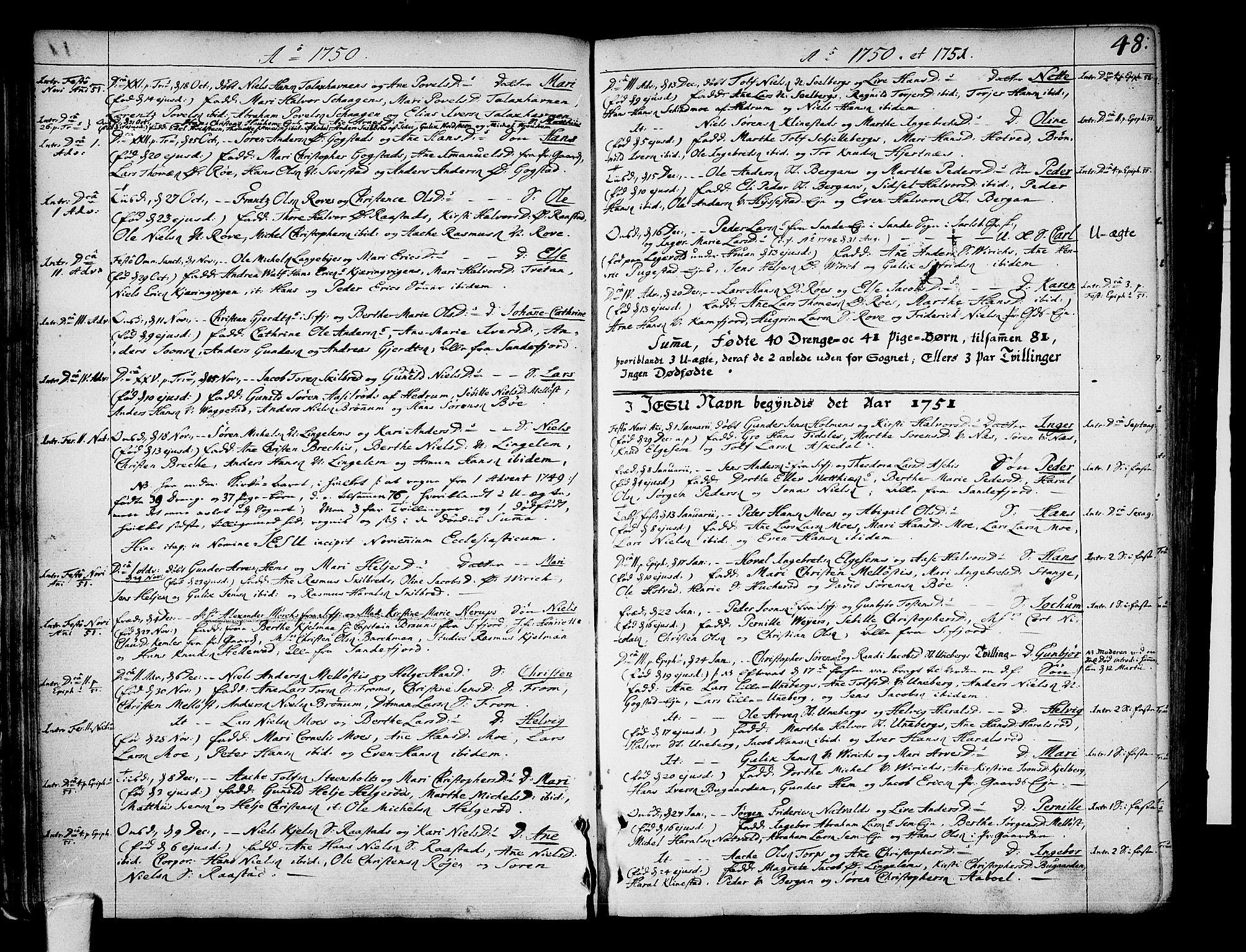 SAKO, Sandar kirkebøker, F/Fa/L0002: Parish register (official) no. 2, 1733-1788, p. 48