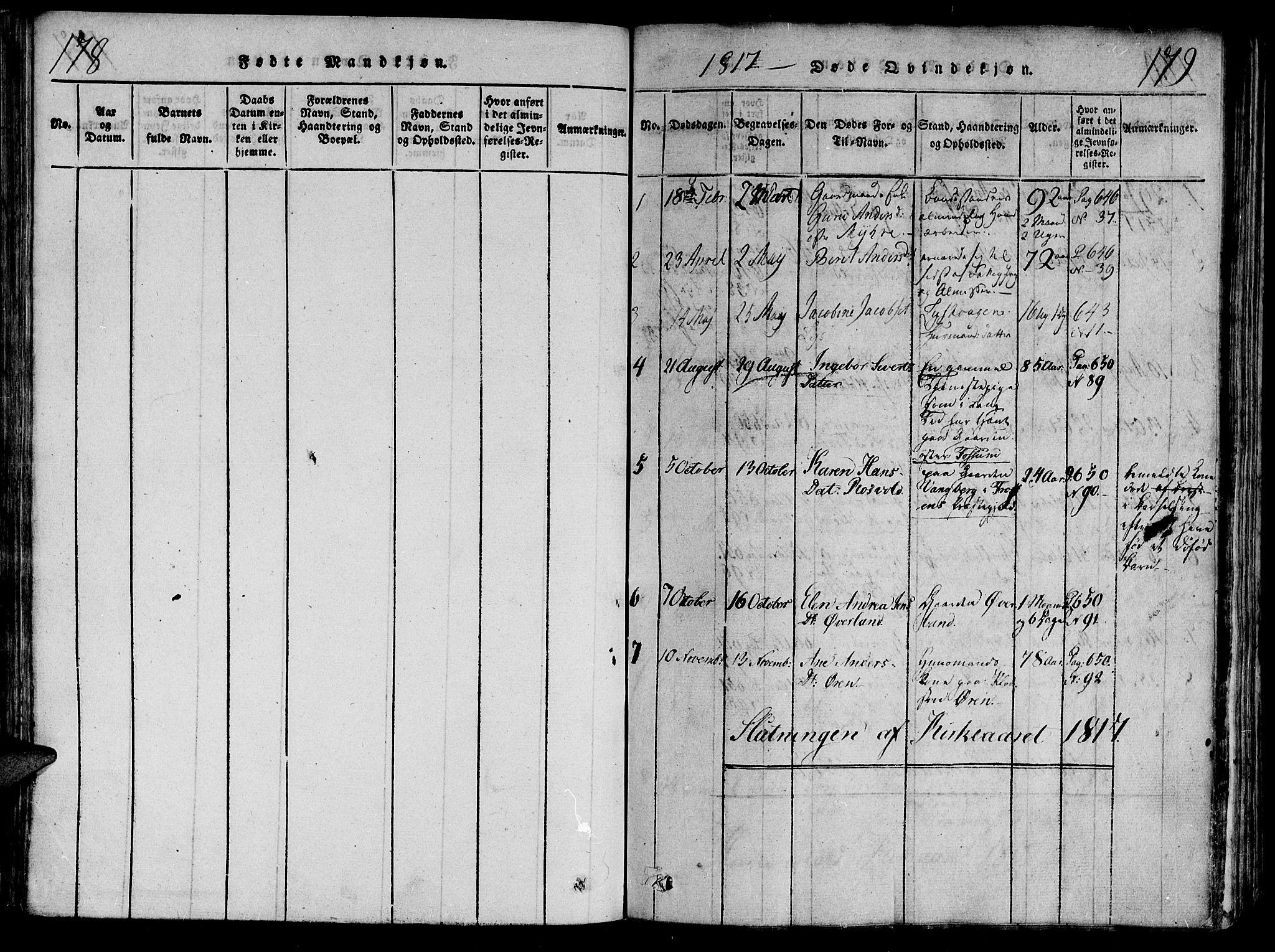SAT, Ministerialprotokoller, klokkerbøker og fødselsregistre - Nord-Trøndelag, 701/L0005: Parish register (official) no. 701A05 /1, 1816-1825, p. 178-179