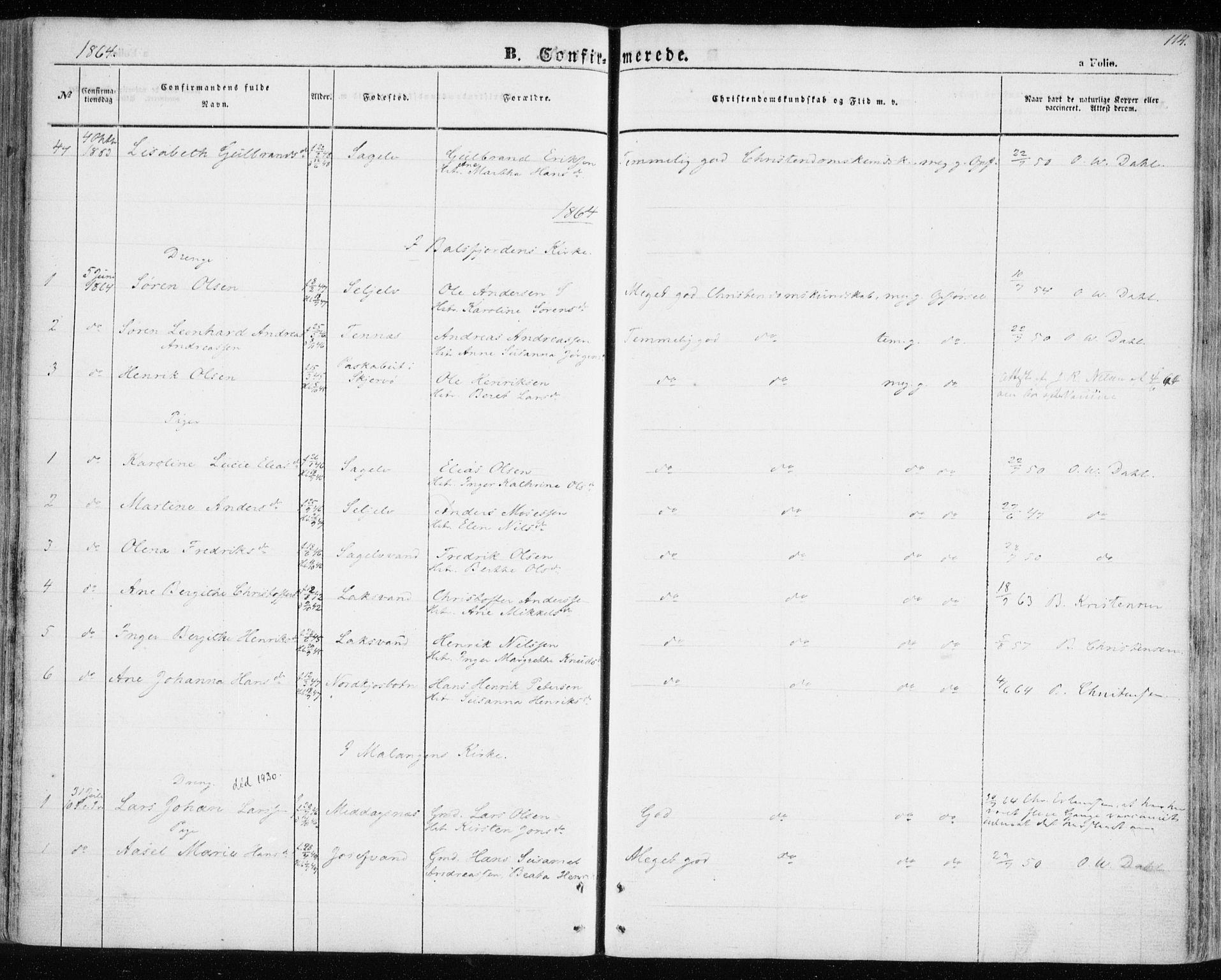 SATØ, Balsfjord sokneprestembete, Parish register (official) no. 3, 1856-1870, p. 114