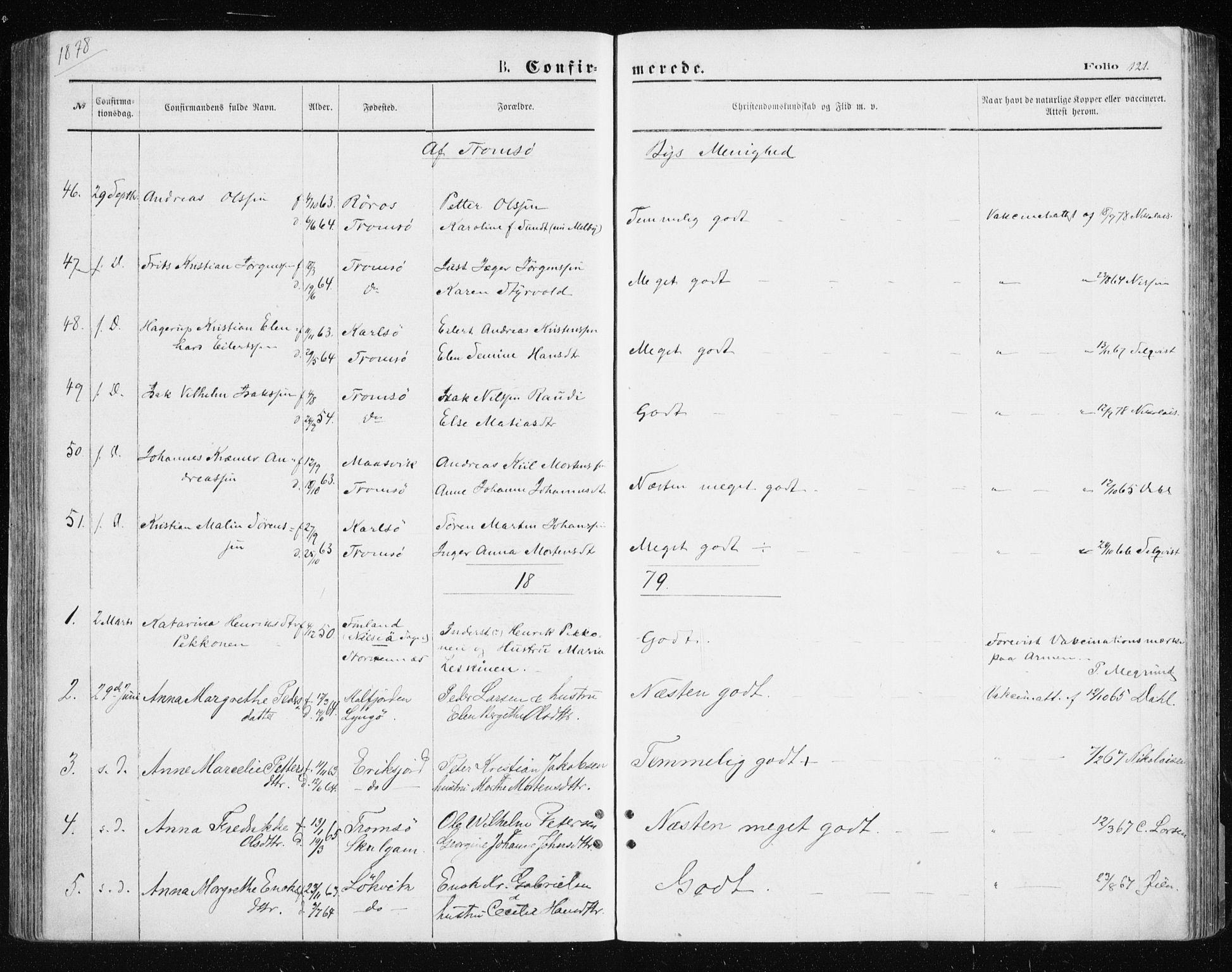SATØ, Tromsøysund sokneprestkontor, G/Ga/L0003kirke: Parish register (official) no. 3, 1875-1880, p. 121