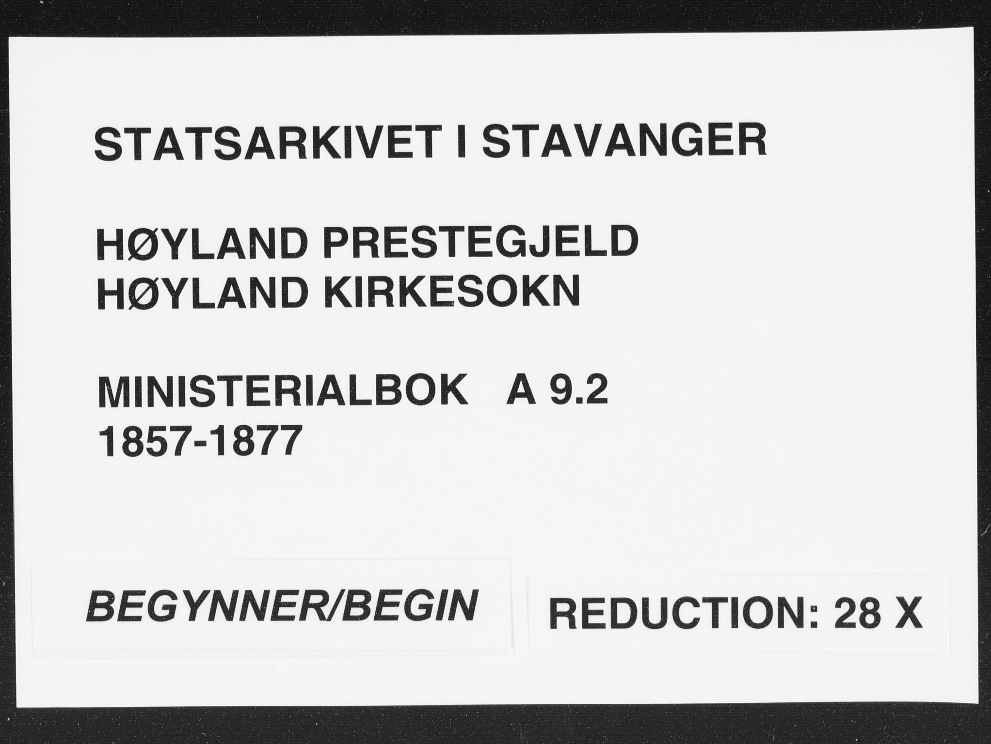 SAST, Høyland sokneprestkontor, 30BA/L0009: Parish register (official) no. A 9.2, 1857-1877
