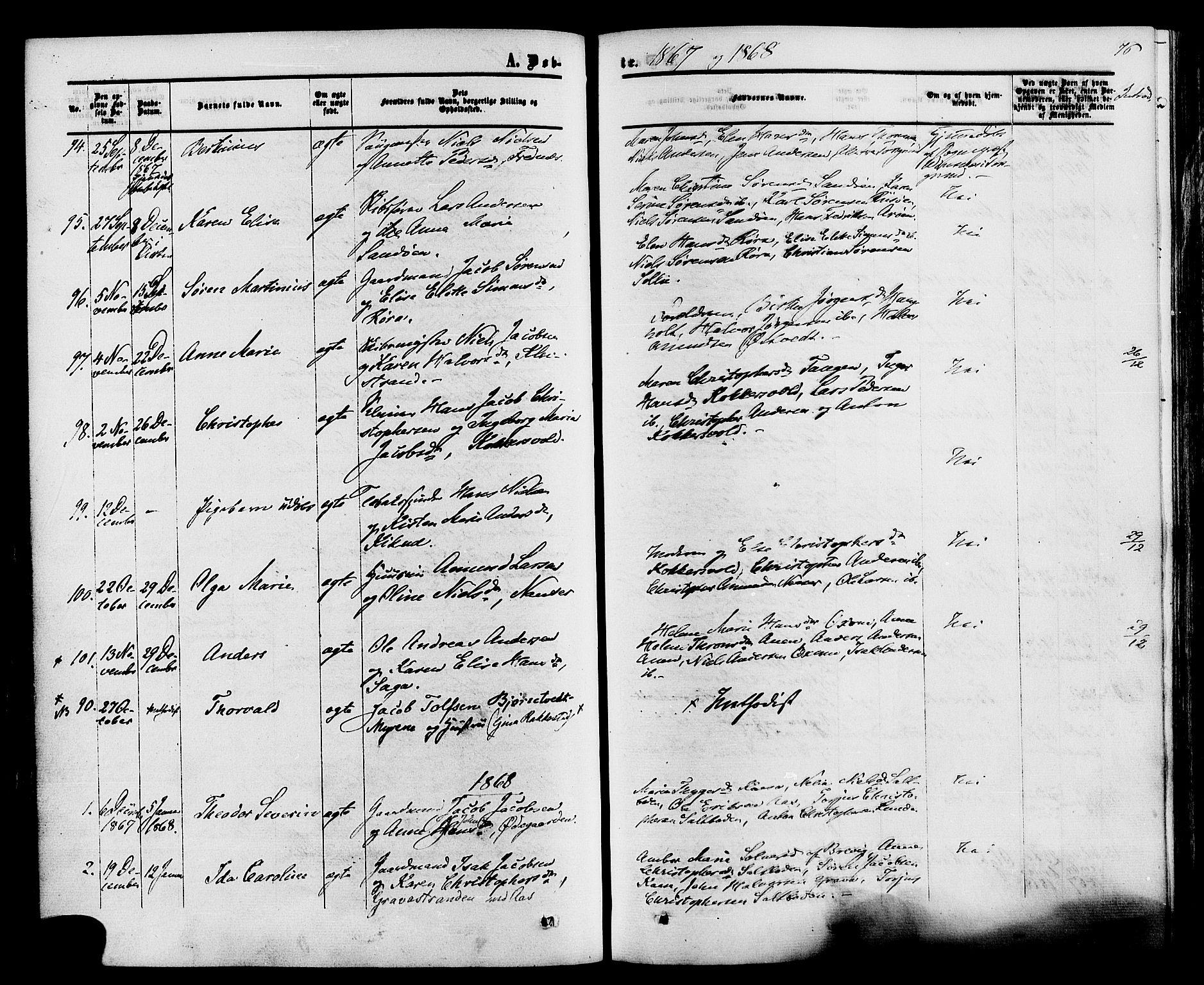 SAKO, Eidanger kirkebøker, F/Fa/L0010: Parish register (official) no. 10, 1859-1874, p. 76