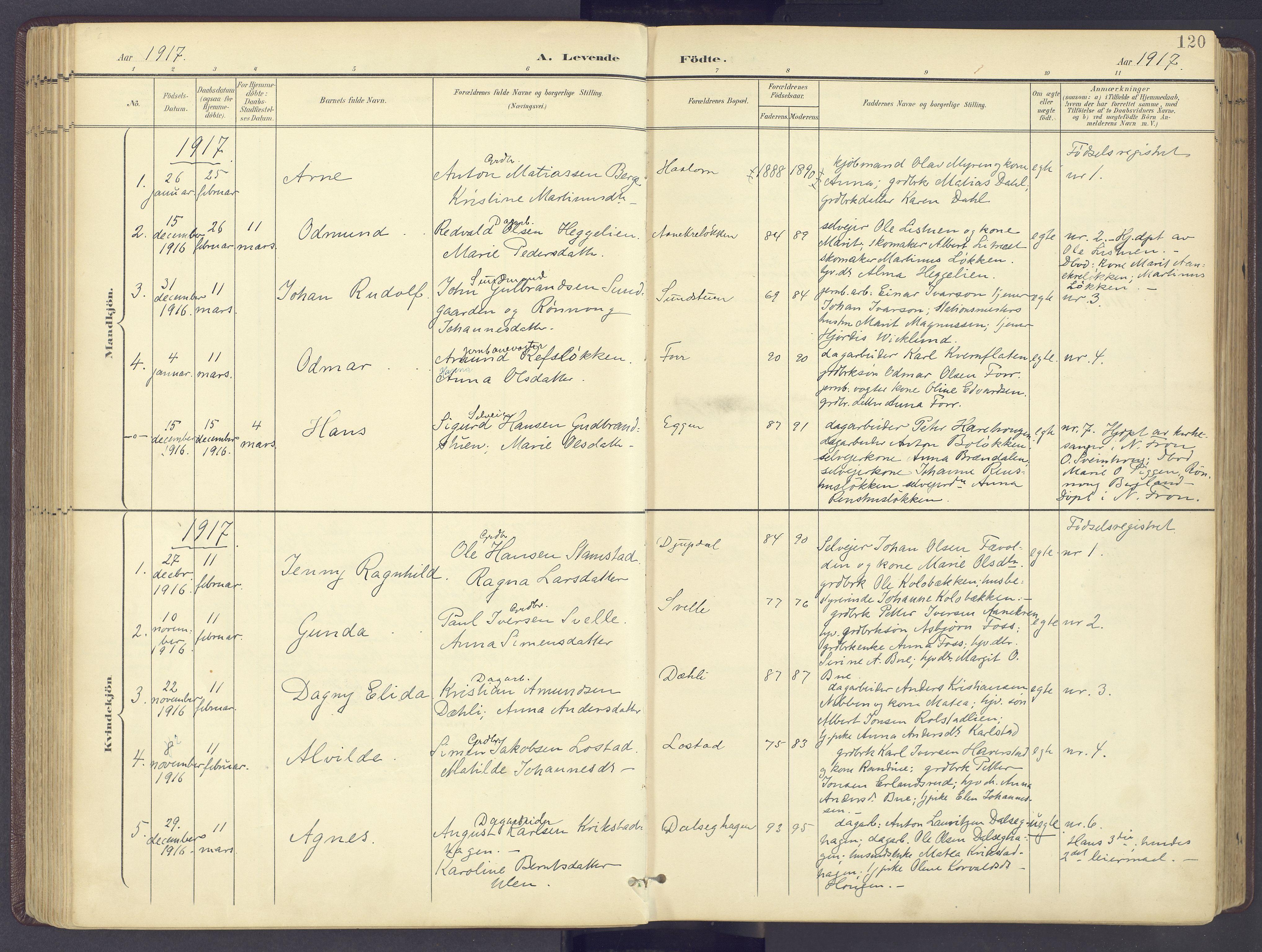 SAH, Sør-Fron prestekontor, H/Ha/Haa/L0004: Parish register (official) no. 4, 1898-1919, p. 120