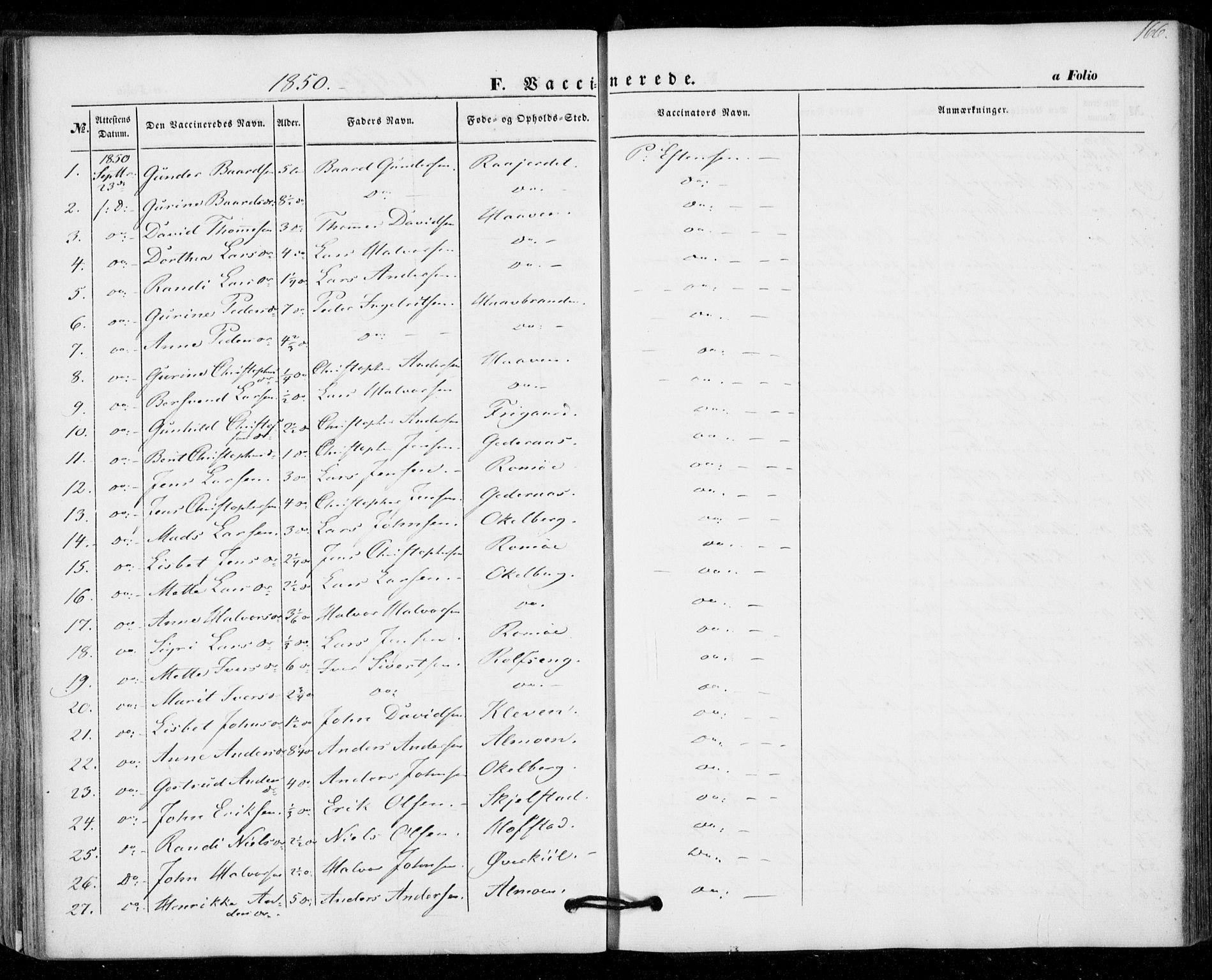 SAT, Ministerialprotokoller, klokkerbøker og fødselsregistre - Nord-Trøndelag, 703/L0028: Parish register (official) no. 703A01, 1850-1862, p. 166