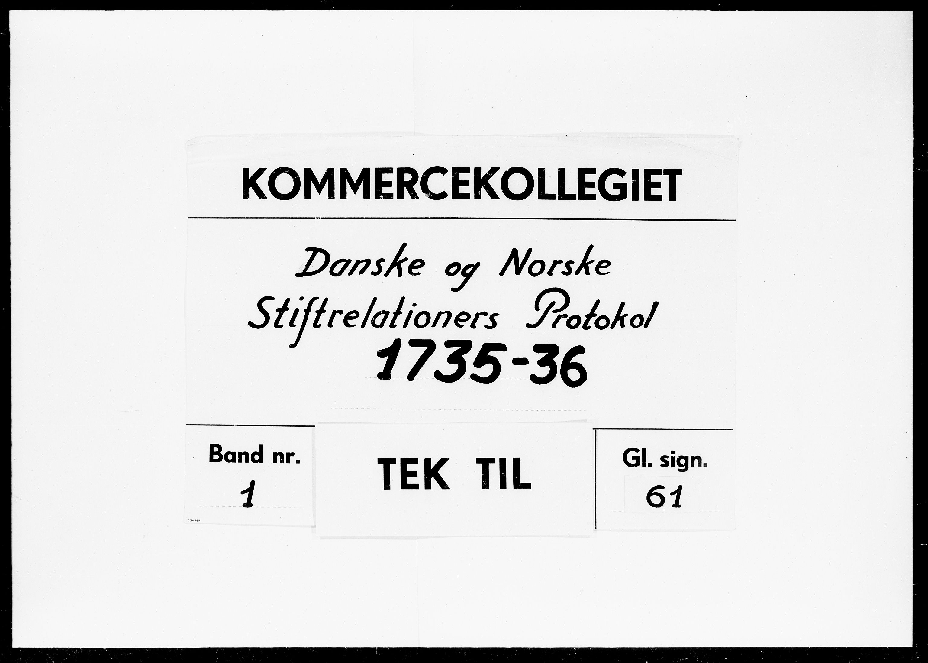 DRA, Kommercekollegiet, Dansk-Norske Sekretariat, -/25: Danske og Norske Stiftrelationers Protokol, 1735-1736