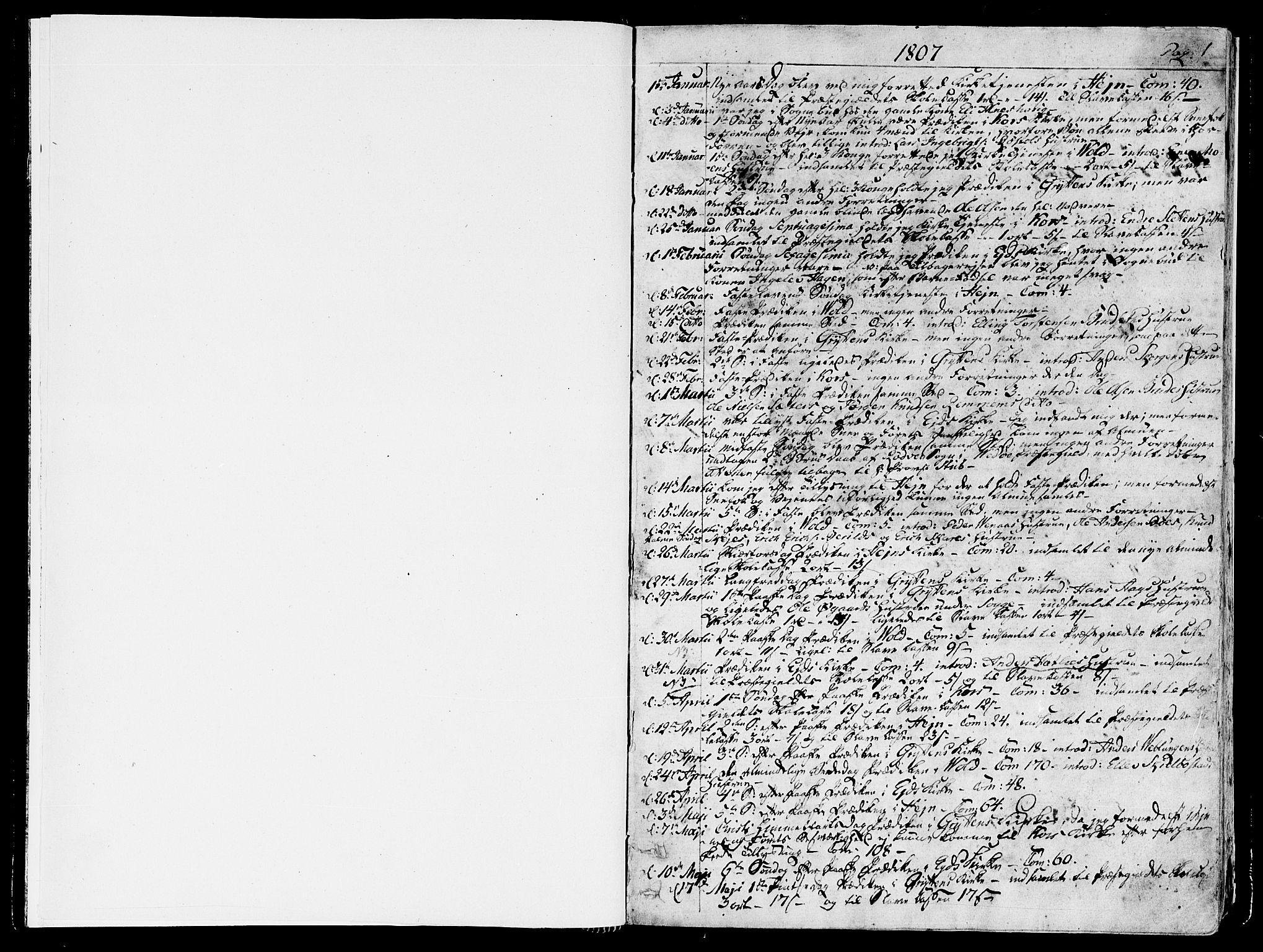 SAT, Ministerialprotokoller, klokkerbøker og fødselsregistre - Møre og Romsdal, 544/L0570: Parish register (official) no. 544A03, 1807-1817, p. 0-1