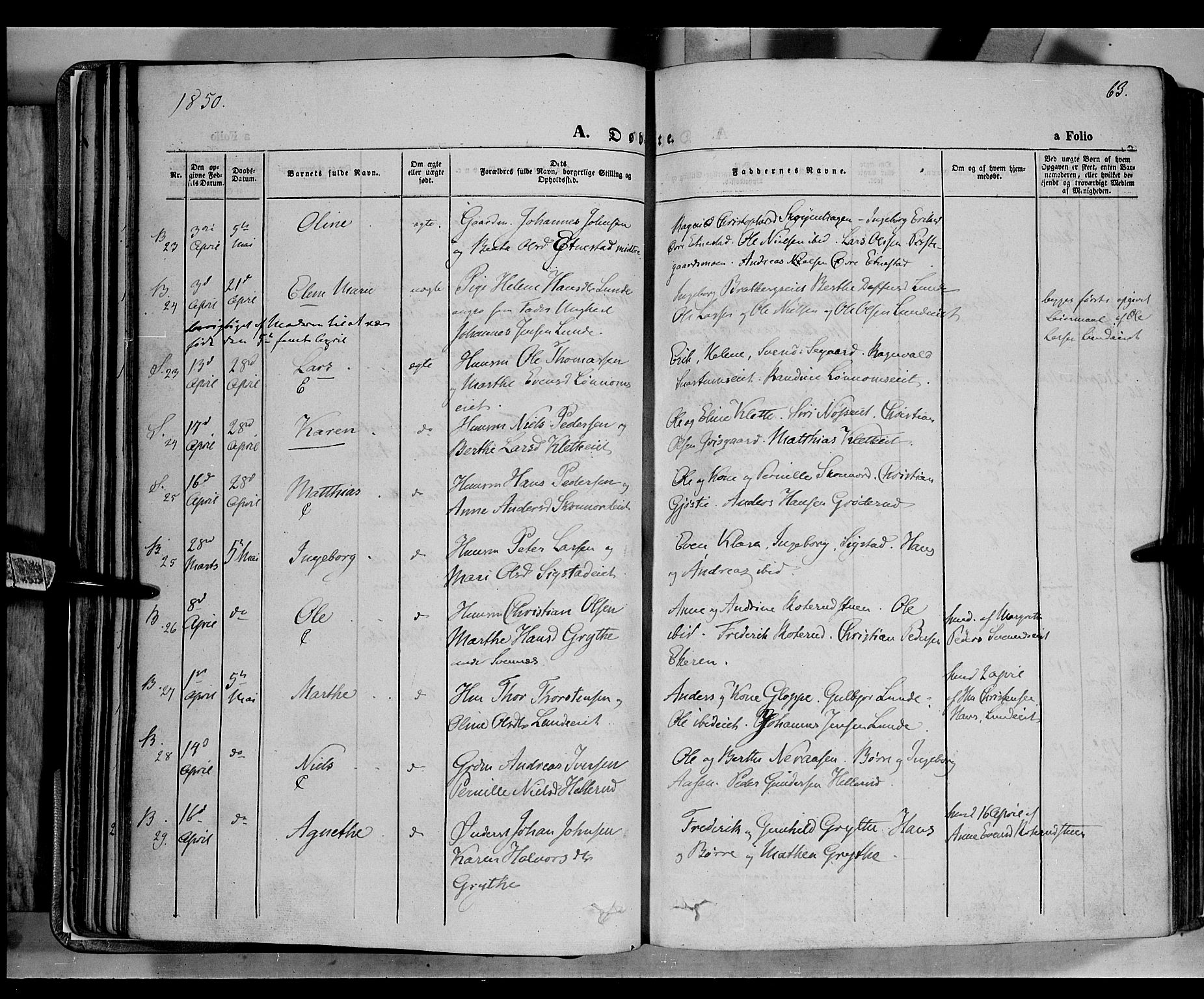 SAH, Biri prestekontor, Parish register (official) no. 5, 1843-1854, p. 63