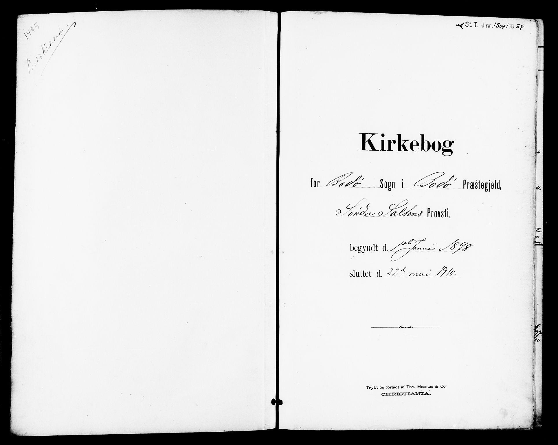 SAT, Ministerialprotokoller, klokkerbøker og fødselsregistre - Nordland, 801/L0033: Parish register (copy) no. 801C08, 1898-1910