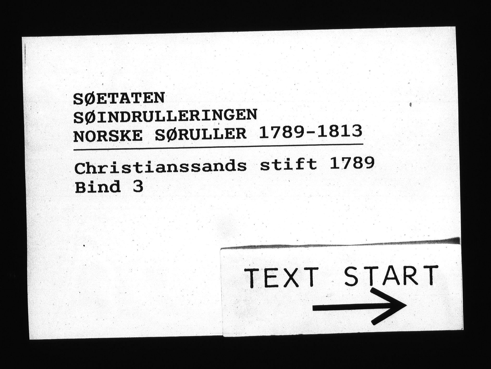 RA, Sjøetaten, F/L0010: Kristiansand stift, bind 3, 1789