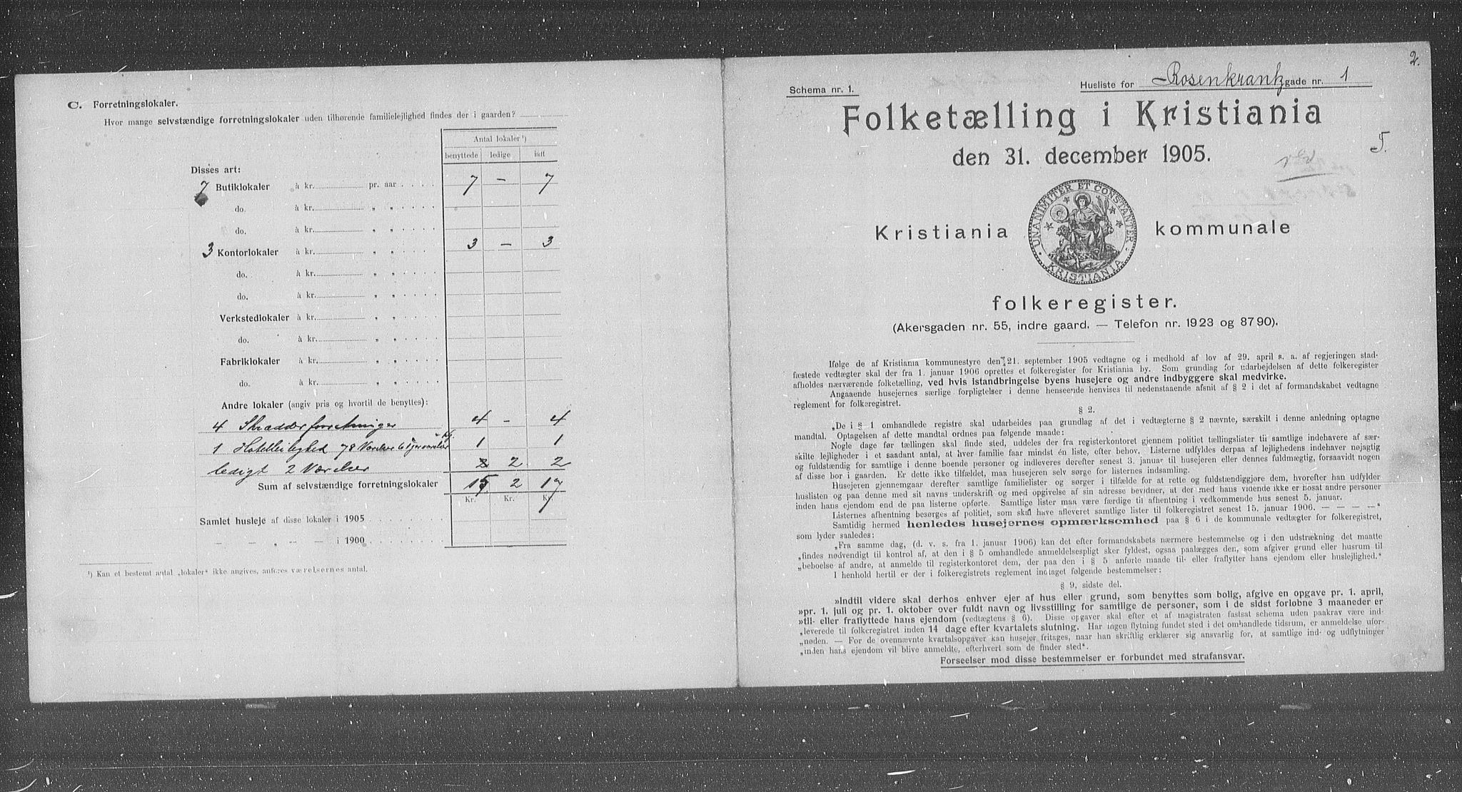 OBA, Municipal Census 1905 for Kristiania, 1905, p. 44118