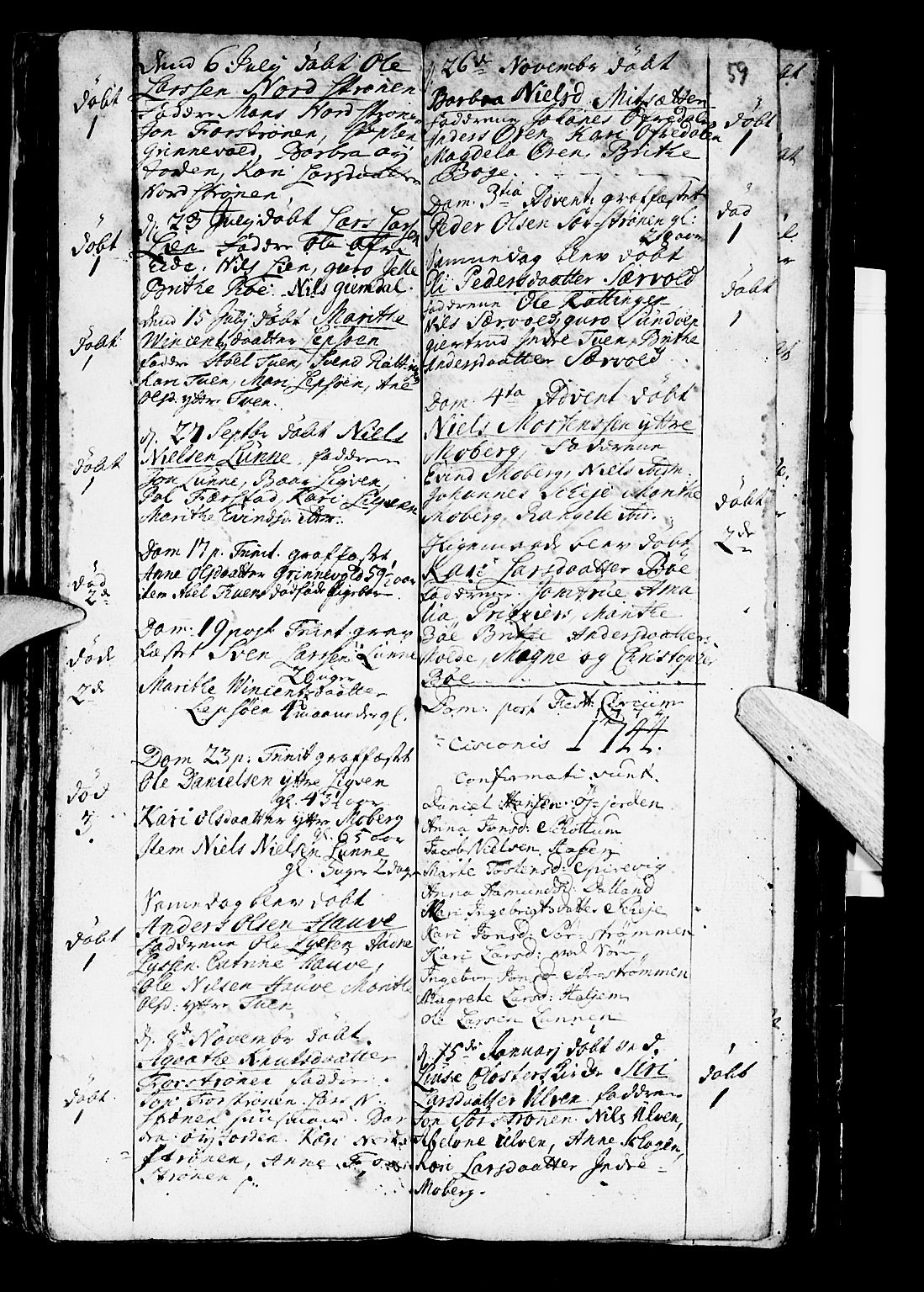 SAB, Os sokneprestembete*, Parish register (official) no. A 2, 1723-1758, p. 59
