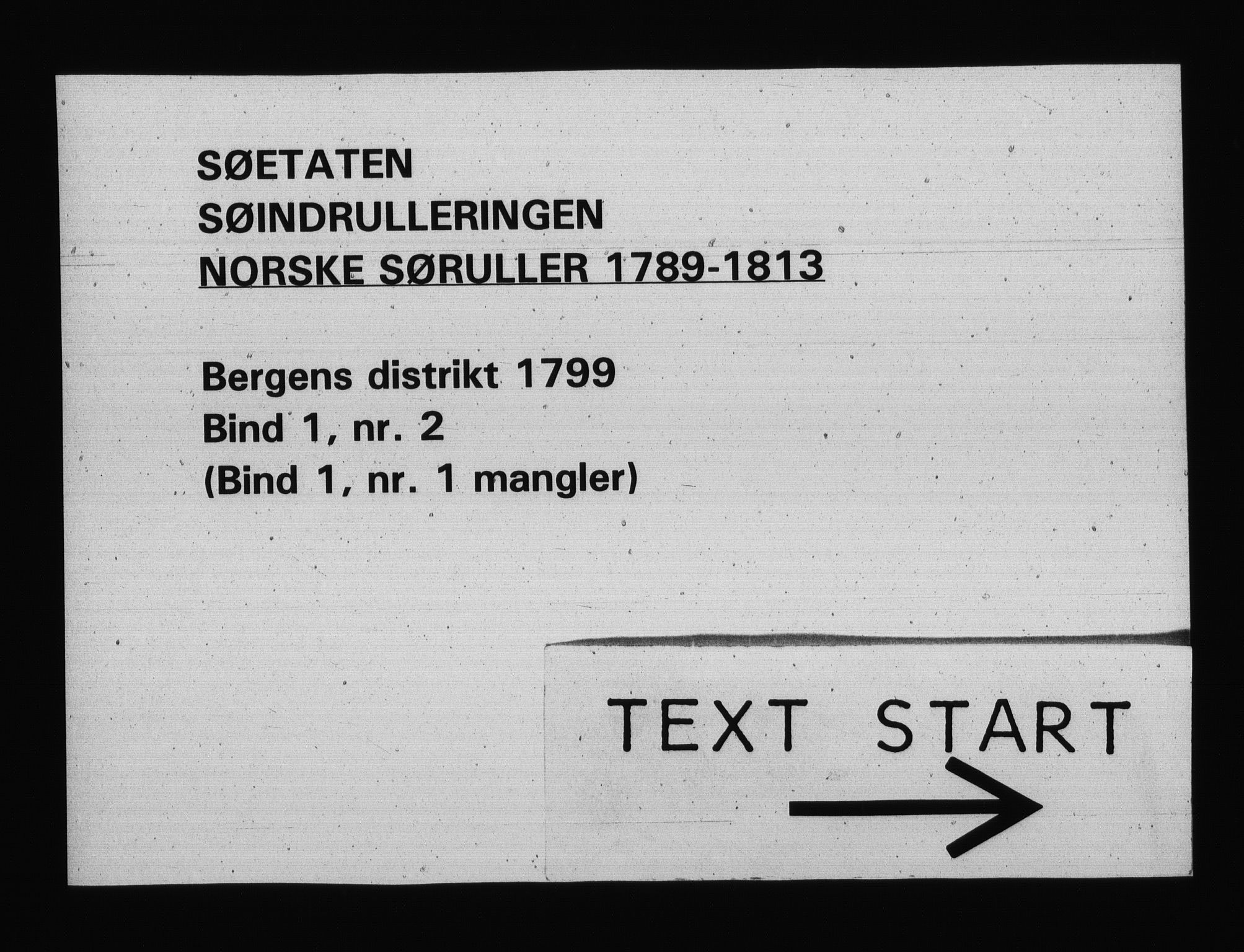 RA, Sjøetaten, F/L0228: Bergen distrikt, bind 1, nr. 2, 1799