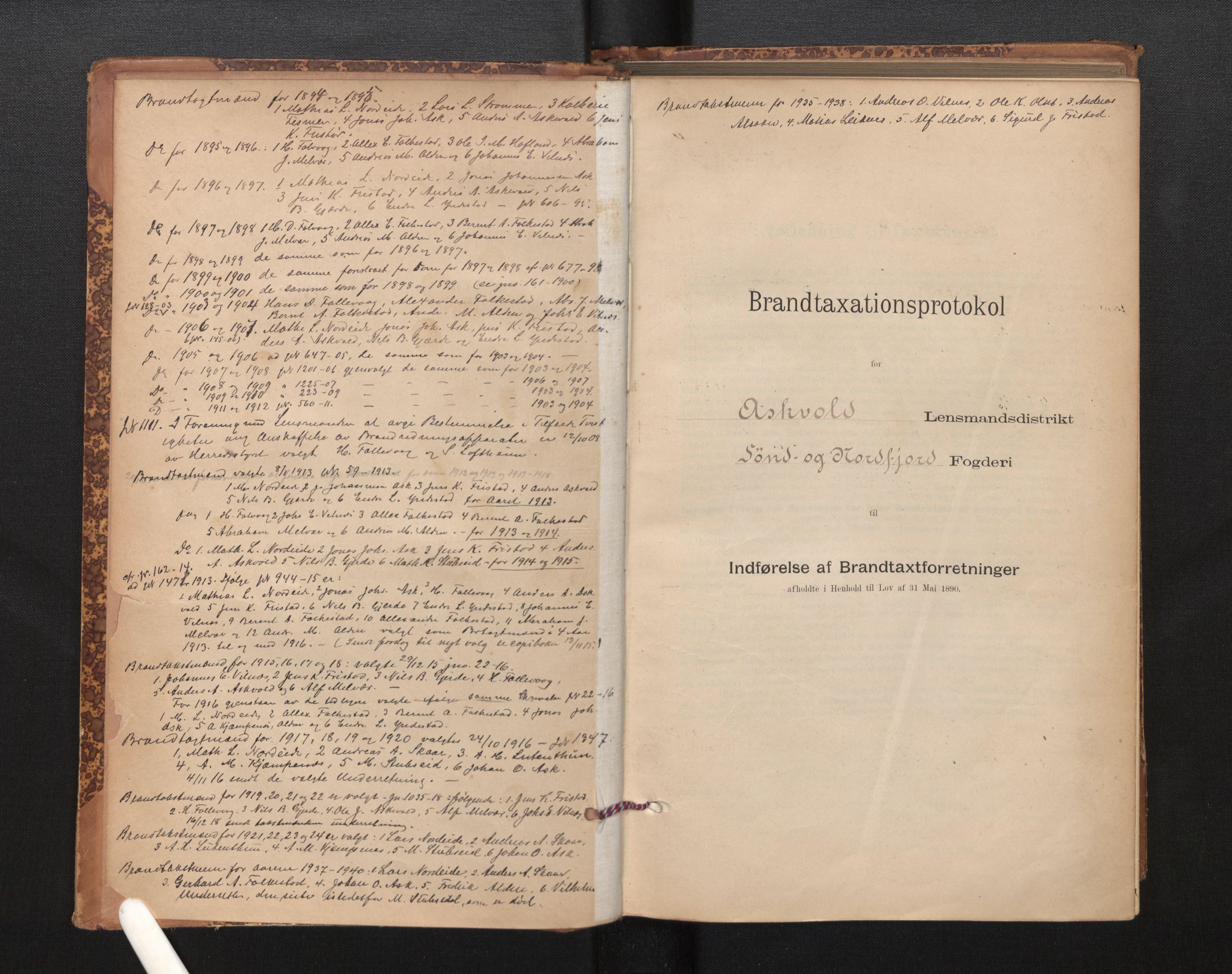 SAB, Lensmannen i Askvoll, 0012/L0004: Branntakstprotokoll, skjematakst og liste over branntakstmenn, 1895-1932