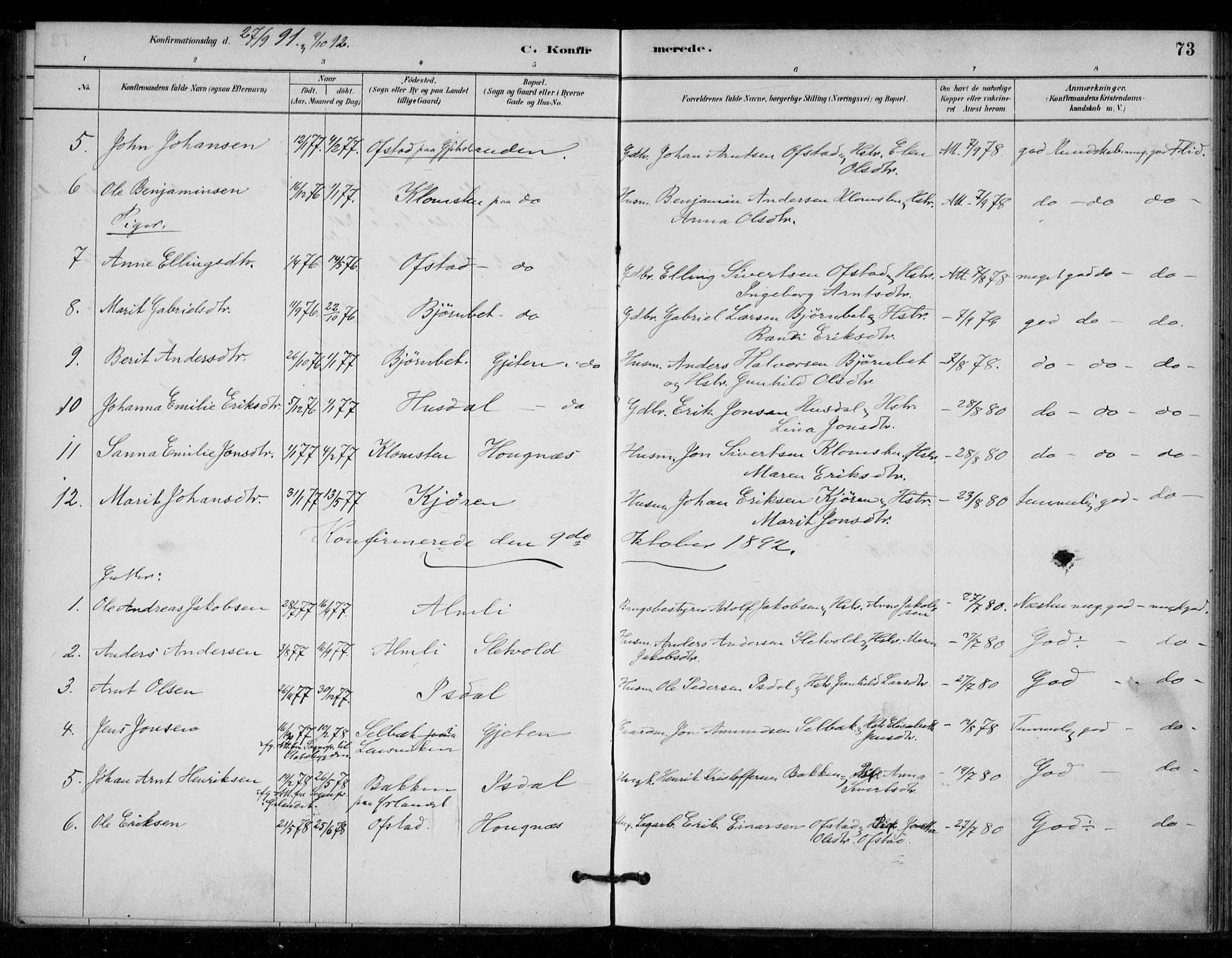 SAT, Ministerialprotokoller, klokkerbøker og fødselsregistre - Sør-Trøndelag, 670/L0836: Parish register (official) no. 670A01, 1879-1904, p. 73