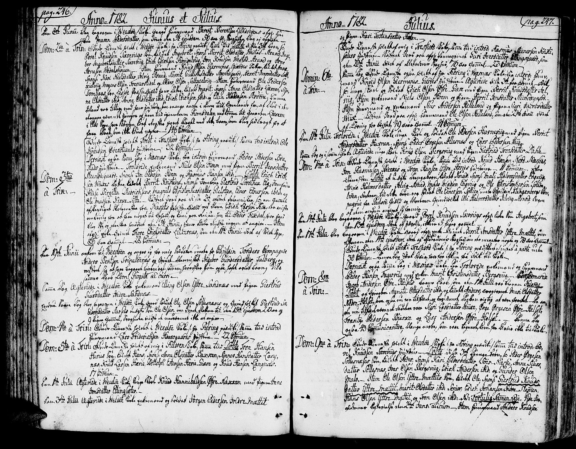 SAT, Ministerialprotokoller, klokkerbøker og fødselsregistre - Møre og Romsdal, 547/L0600: Parish register (official) no. 547A02, 1765-1799, p. 246-247