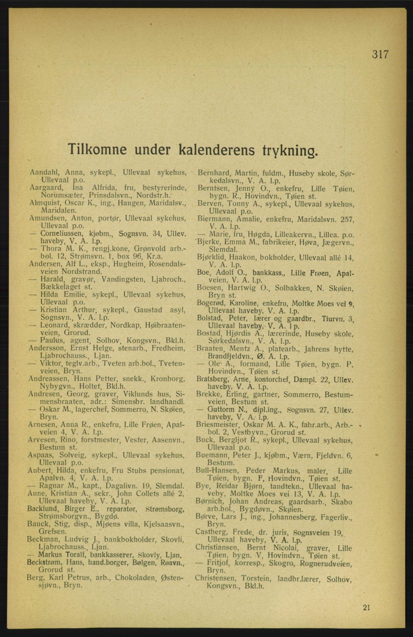 RA, Aker adressebok/adressekalender (publikasjon)*, 1922, p. 317