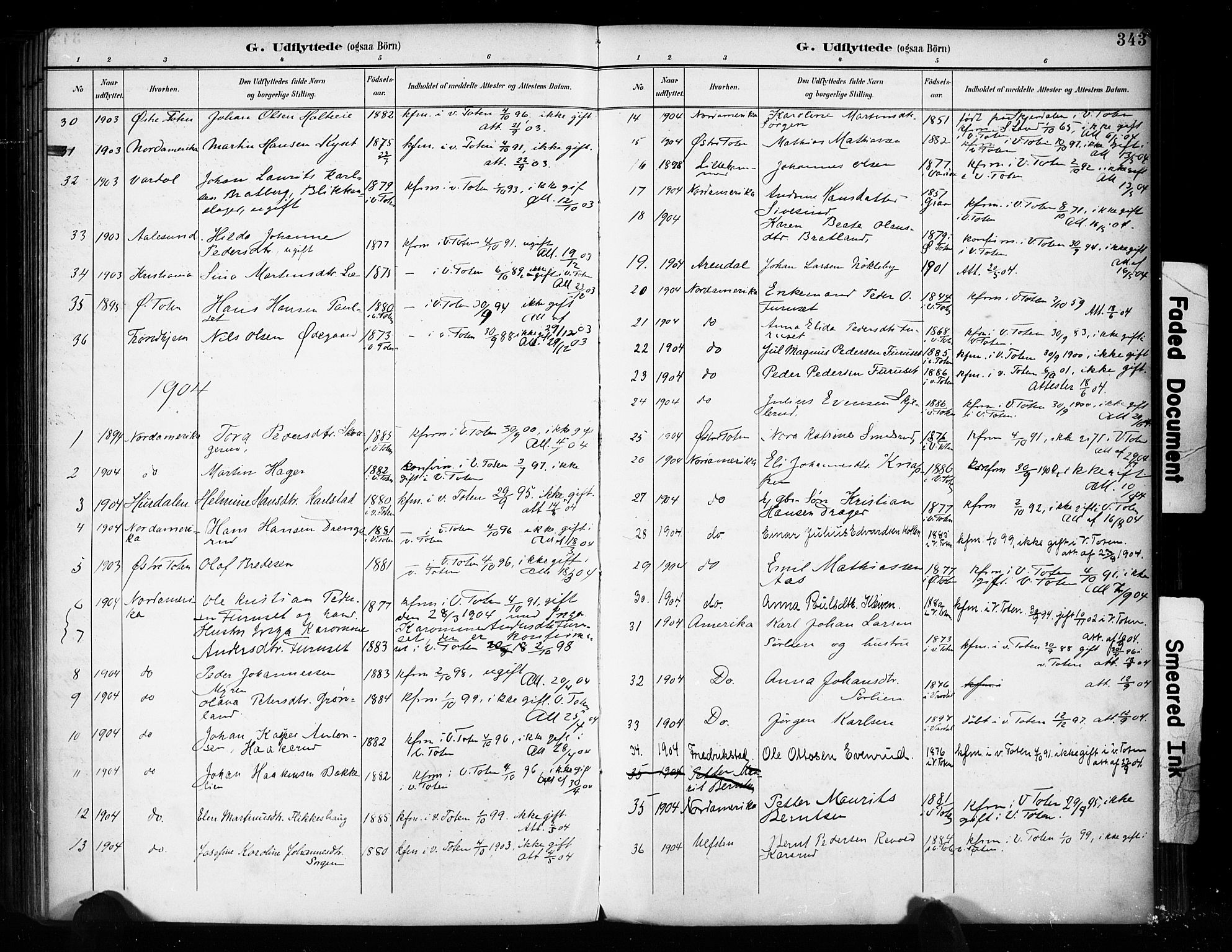 SAH, Vestre Toten prestekontor, H/Ha/Haa/L0011: Parish register (official) no. 11, 1895-1906, p. 343