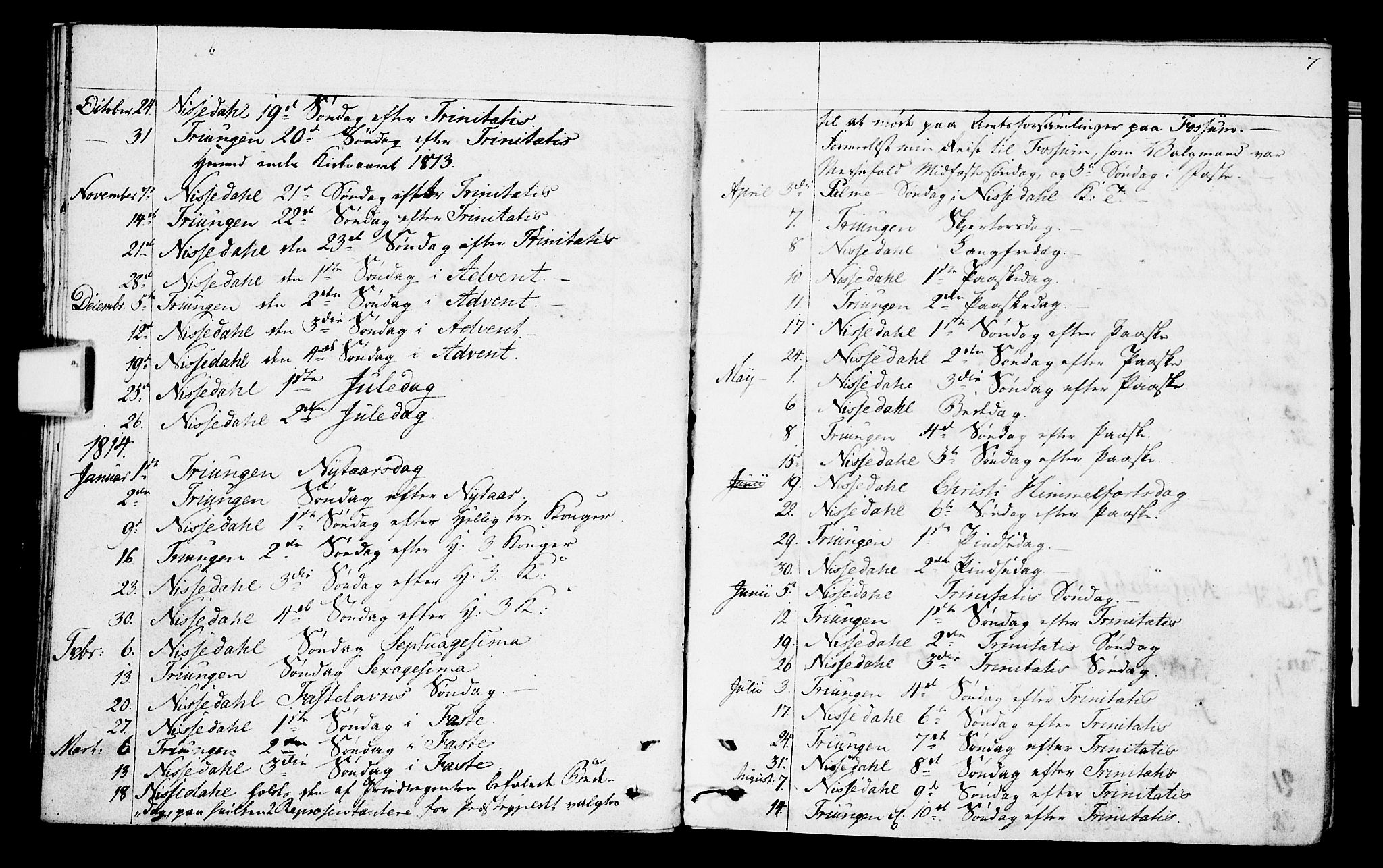 SAKO, Nissedal kirkebøker, F/Fa/L0001: Parish register (official) no. I 1, 1811-1814, p. 7