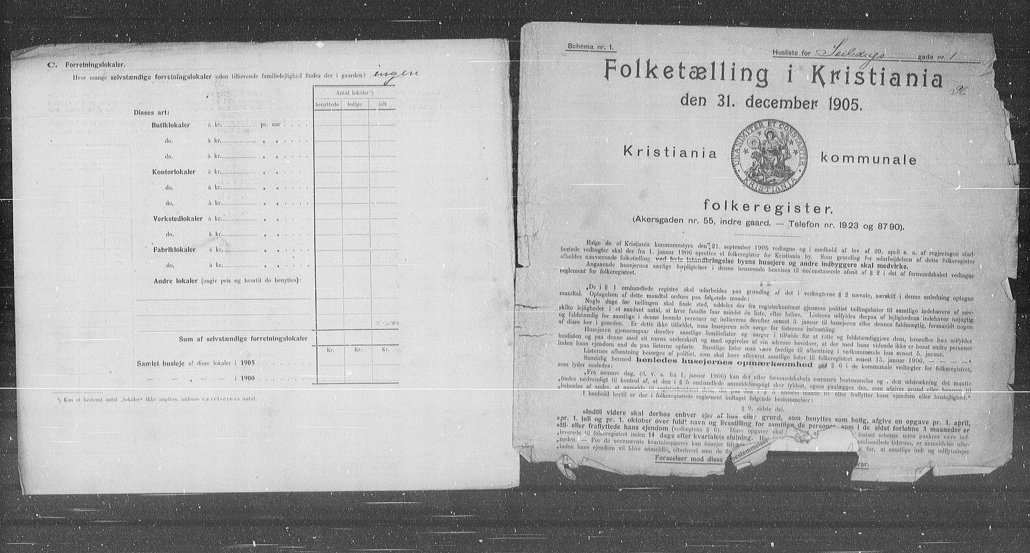 OBA, Municipal Census 1905 for Kristiania, 1905, p. 48729