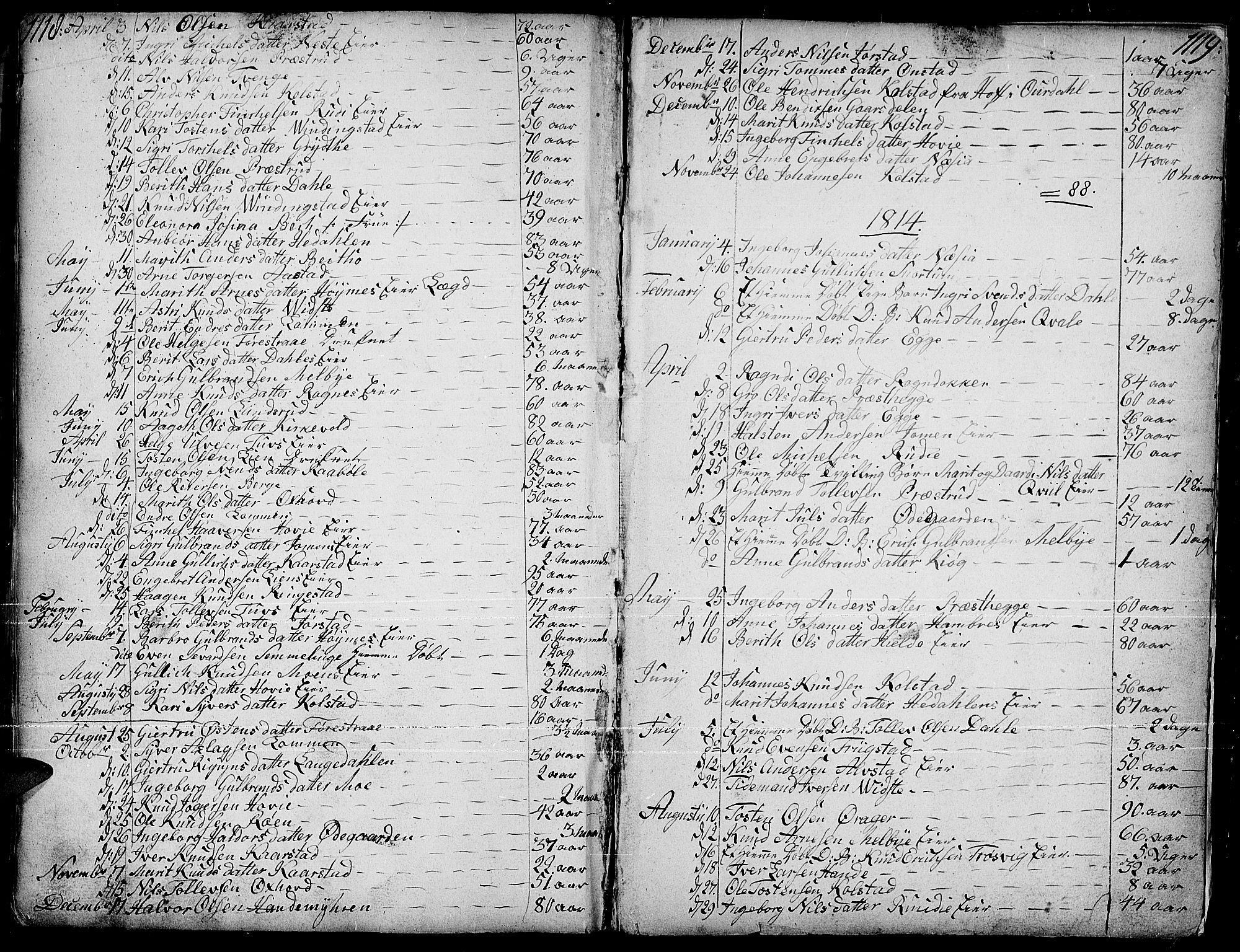 SAH, Slidre prestekontor, Parish register (official) no. 1, 1724-1814, p. 1118-1119