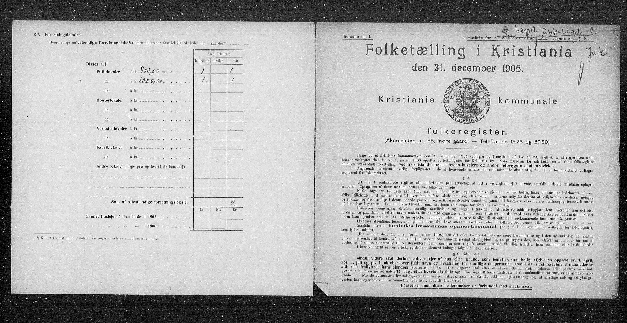 OBA, Municipal Census 1905 for Kristiania, 1905, p. 2212