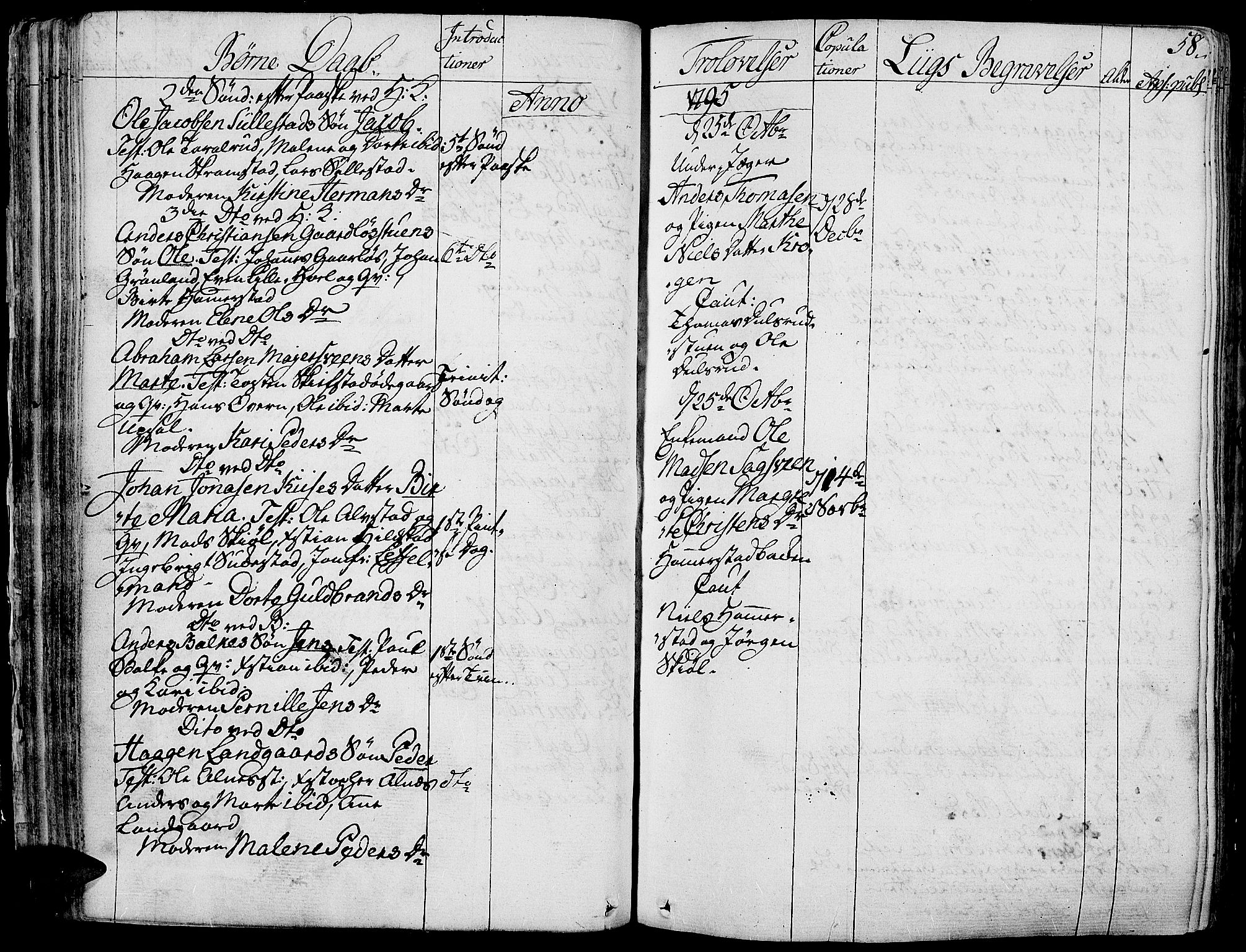 SAH, Toten prestekontor, Parish register (official) no. 7, 1794-1809, p. 58