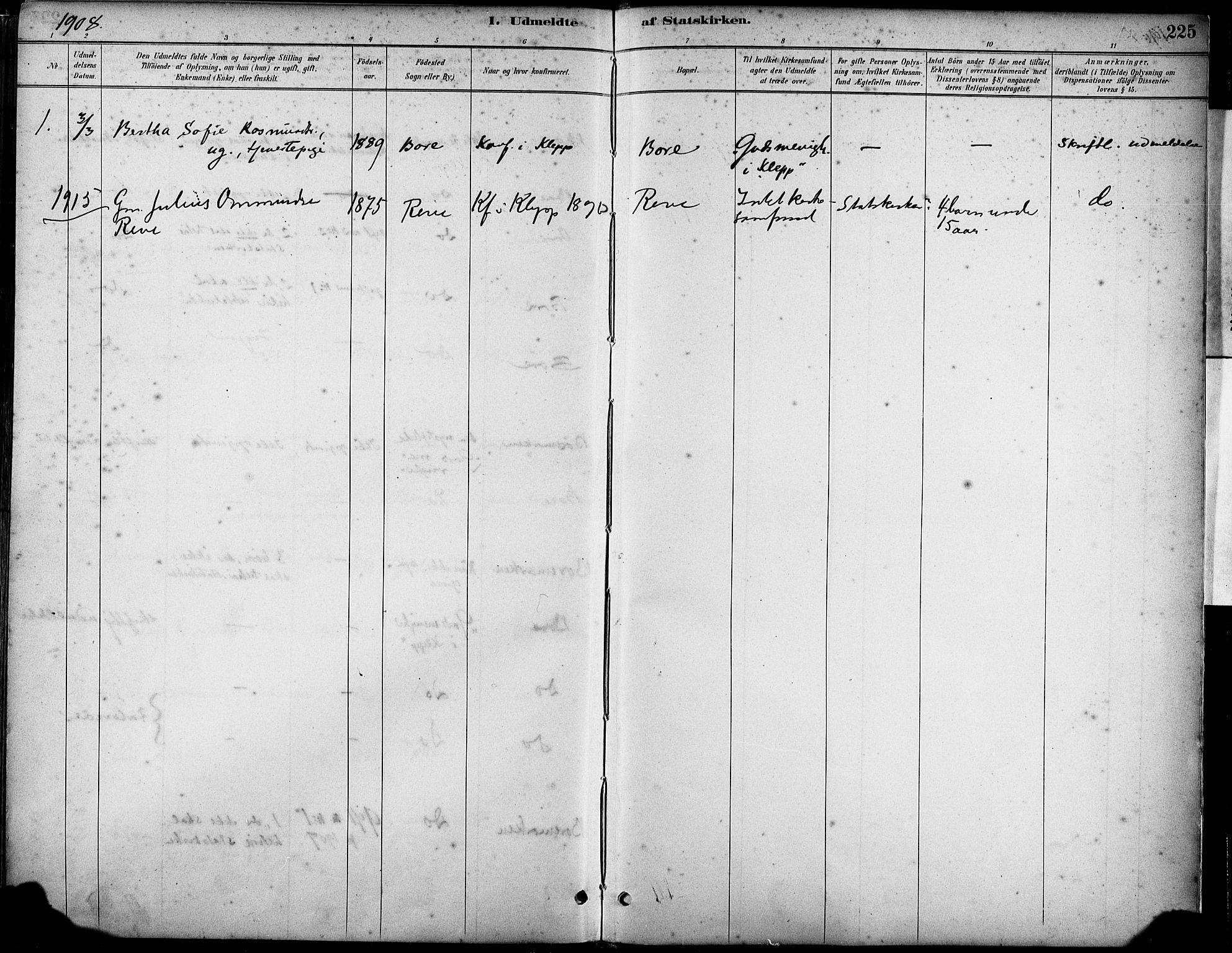 SAST, Klepp sokneprestkontor, 30BA/L0008: Parish register (official) no. A 9, 1886-1919, p. 225