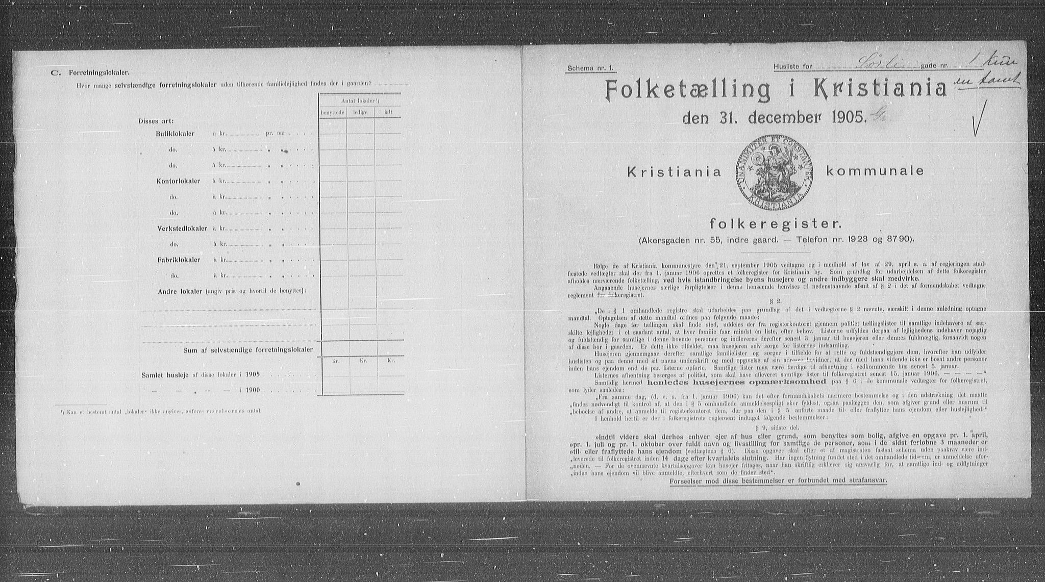 OBA, Municipal Census 1905 for Kristiania, 1905, p. 55719