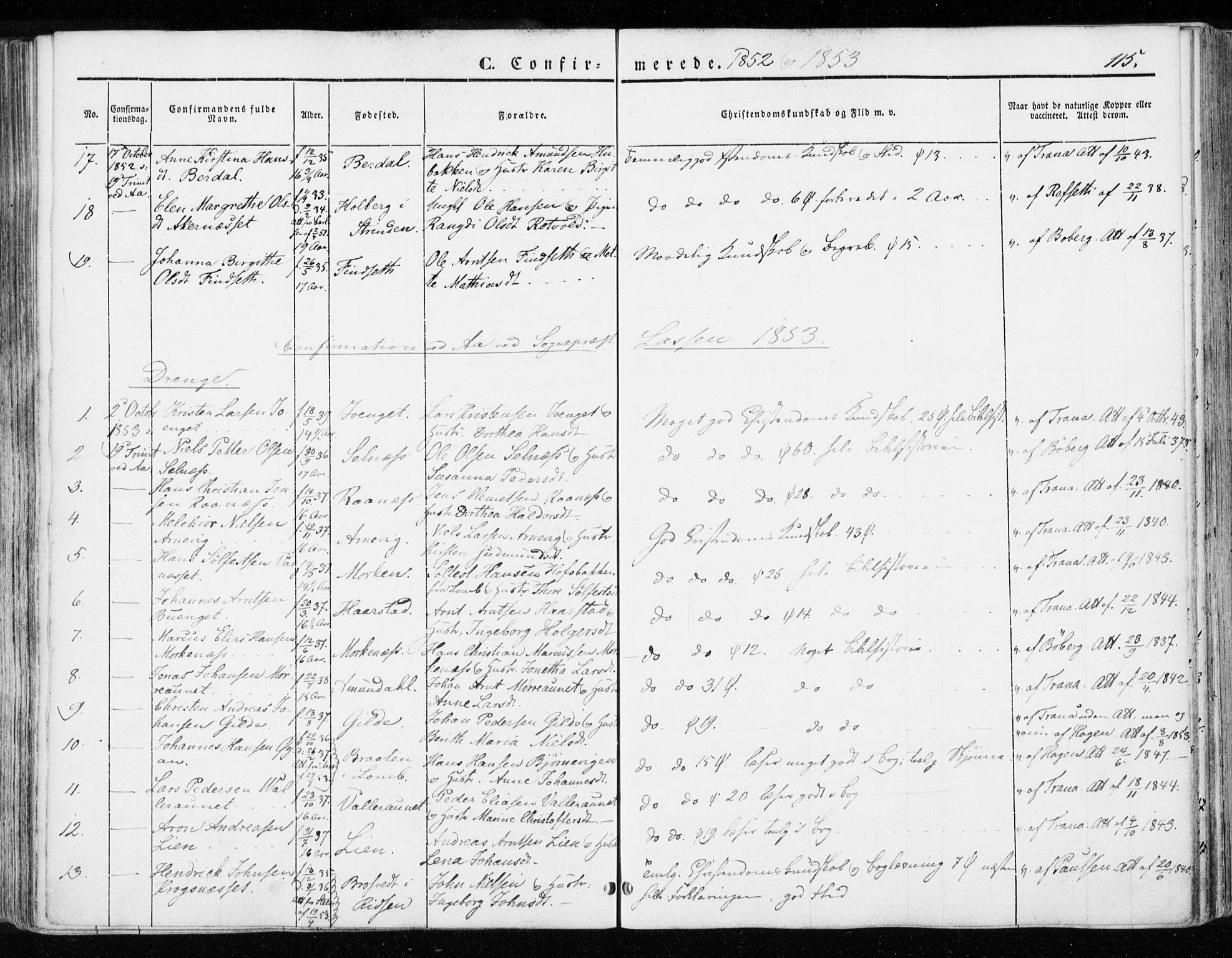 SAT, Ministerialprotokoller, klokkerbøker og fødselsregistre - Sør-Trøndelag, 655/L0677: Parish register (official) no. 655A06, 1847-1860, p. 115