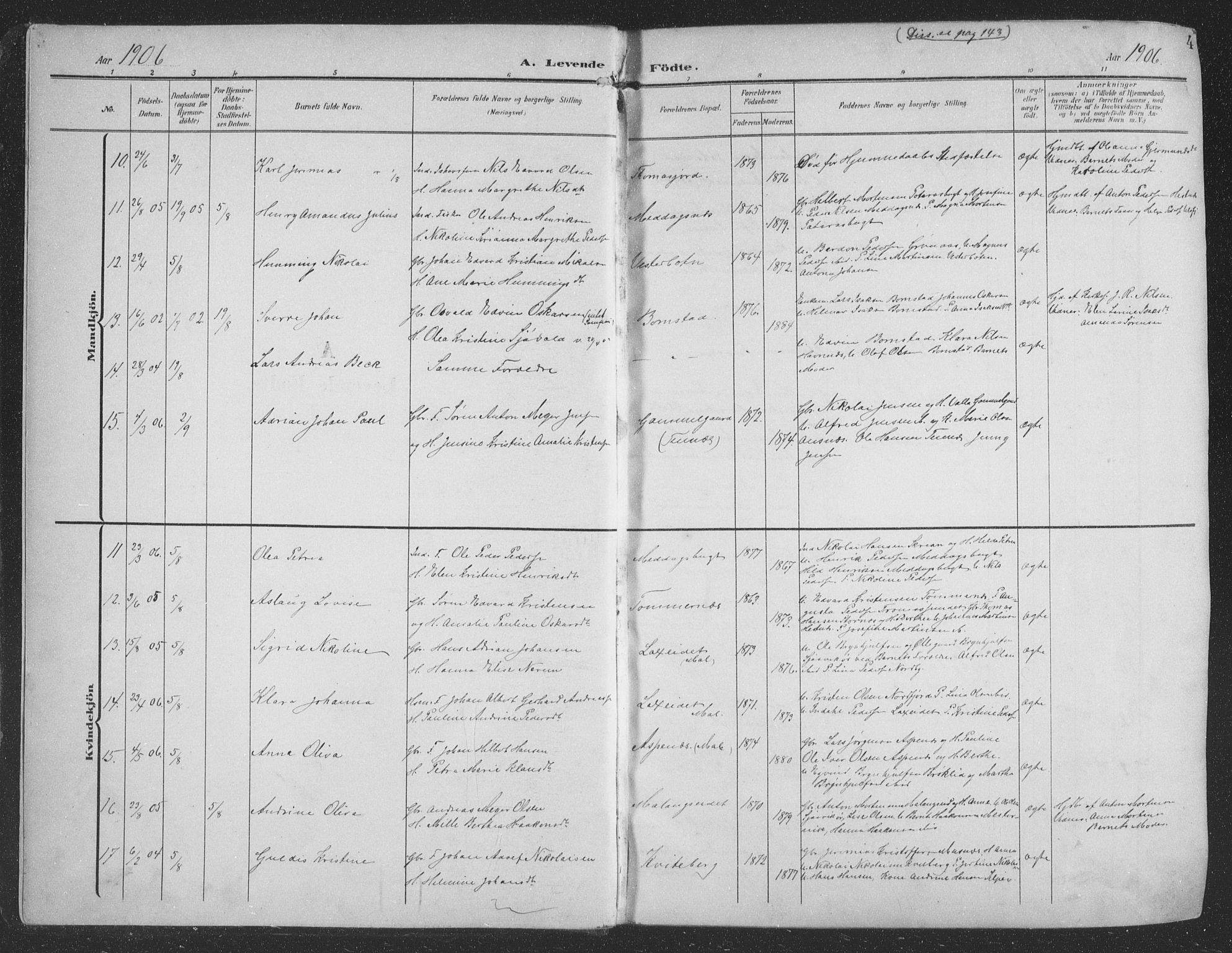 SATØ, Balsfjord sokneprestembete, Parish register (copy) no. 9, 1906-1920, p. 4