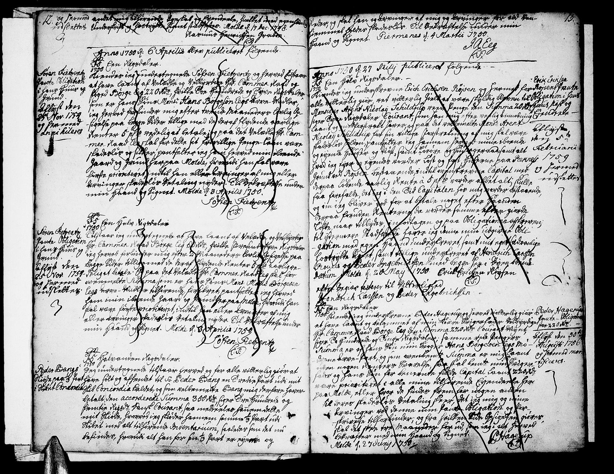 SAT, Molde byfogd, 2/2C/L0001: Mortgage book no. 1, 1748-1823, p. 12-13
