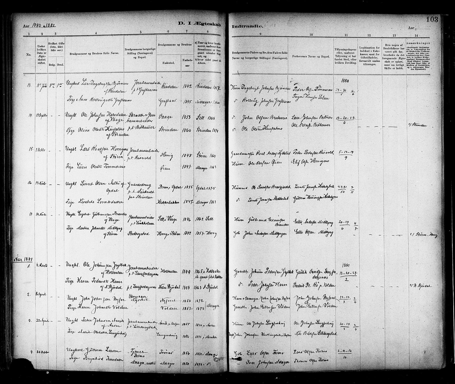 SAT, Ministerialprotokoller, klokkerbøker og fødselsregistre - Nord-Trøndelag, 706/L0047: Parish register (official) no. 706A03, 1878-1892, p. 103