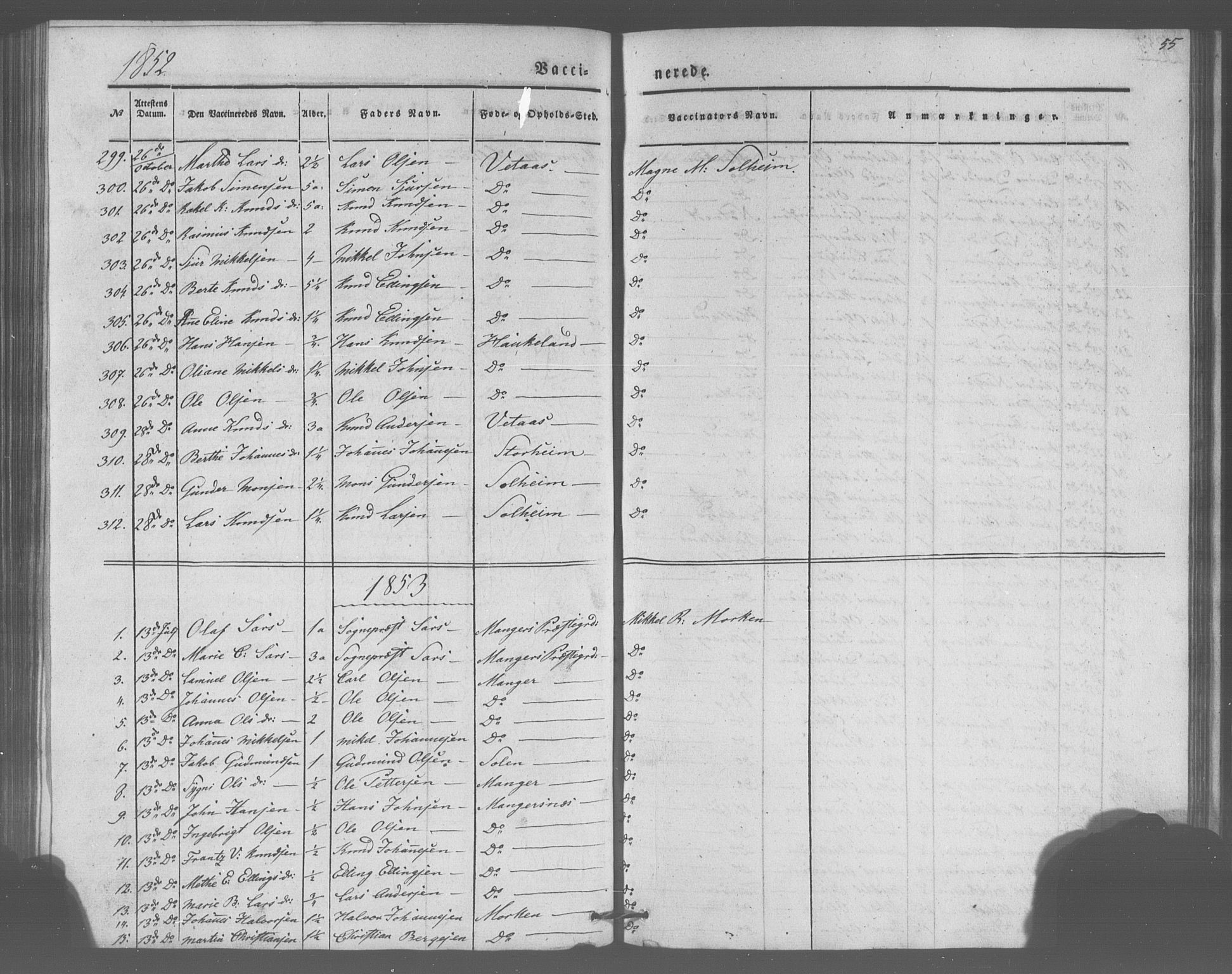 SAB, Manger sokneprestembete, H/Haa: Parish register (official) no. A 10, 1844-1859, p. 55