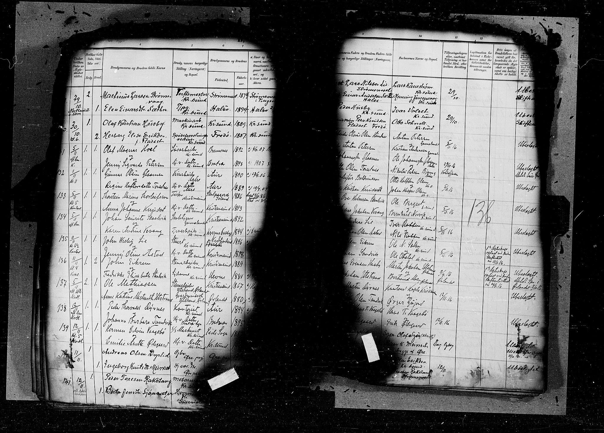 SAT, Arkivreferanse ukjent*, Parish register (official) no. 6d, 1905-1917, p. 136