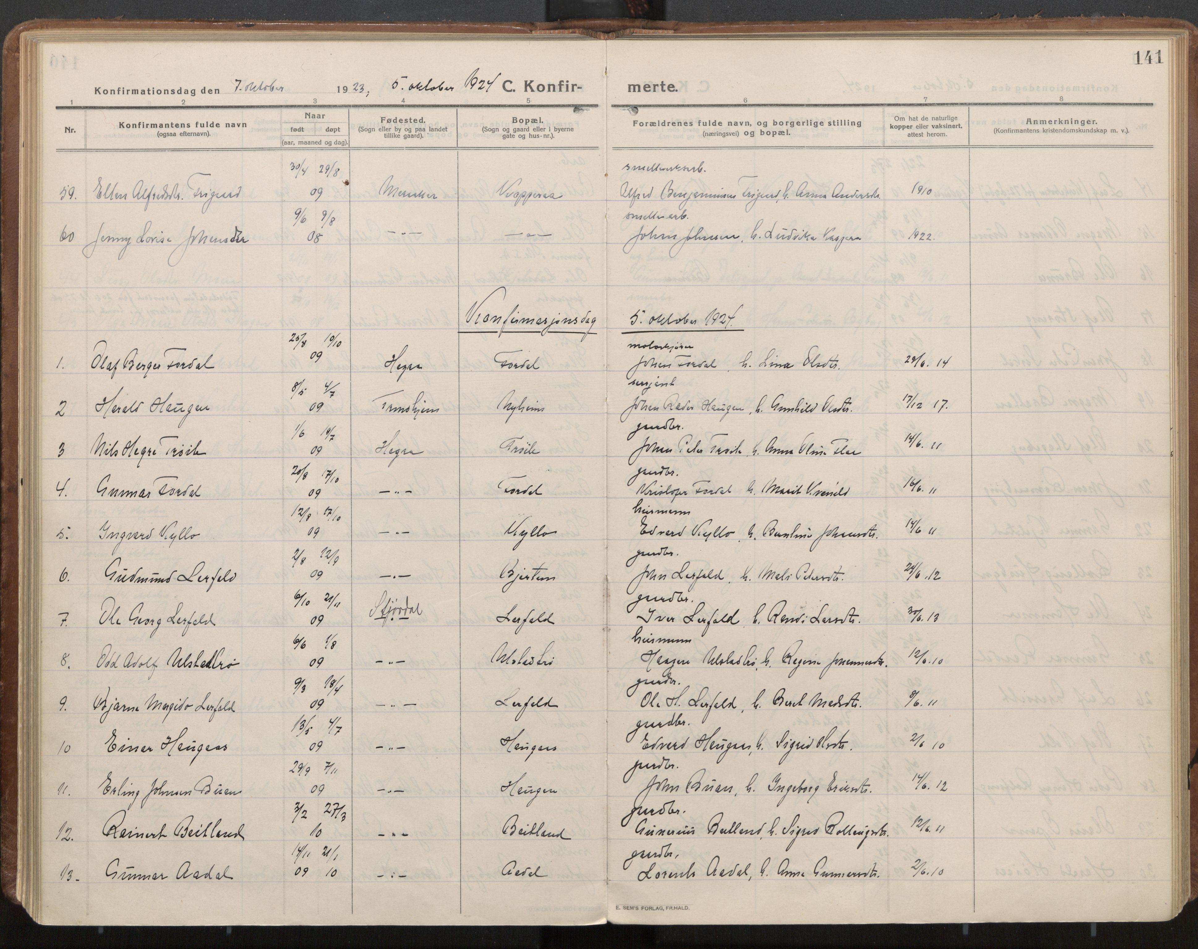 SAT, Ministerialprotokoller, klokkerbøker og fødselsregistre - Nord-Trøndelag, 703/L0037: Parish register (official) no. 703A10, 1915-1932, p. 141
